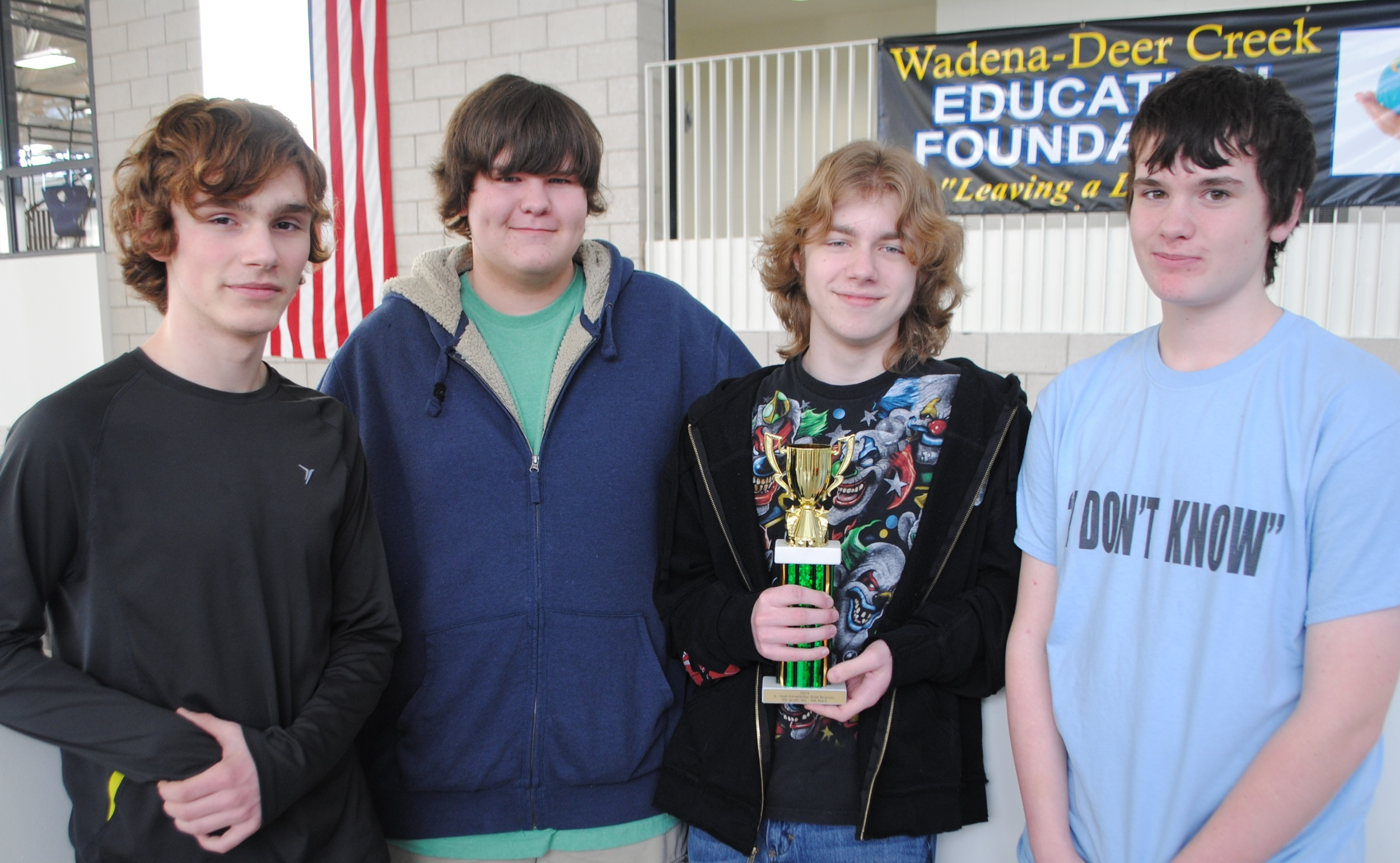 The WDC Wolverines team of Tyler Scott, Derek Plautz, Logan Taggart and Andrew McCullough placed fourth in the academic quiz fest in Staples recently. (Photo by Dana Pavek, WDC Schools)