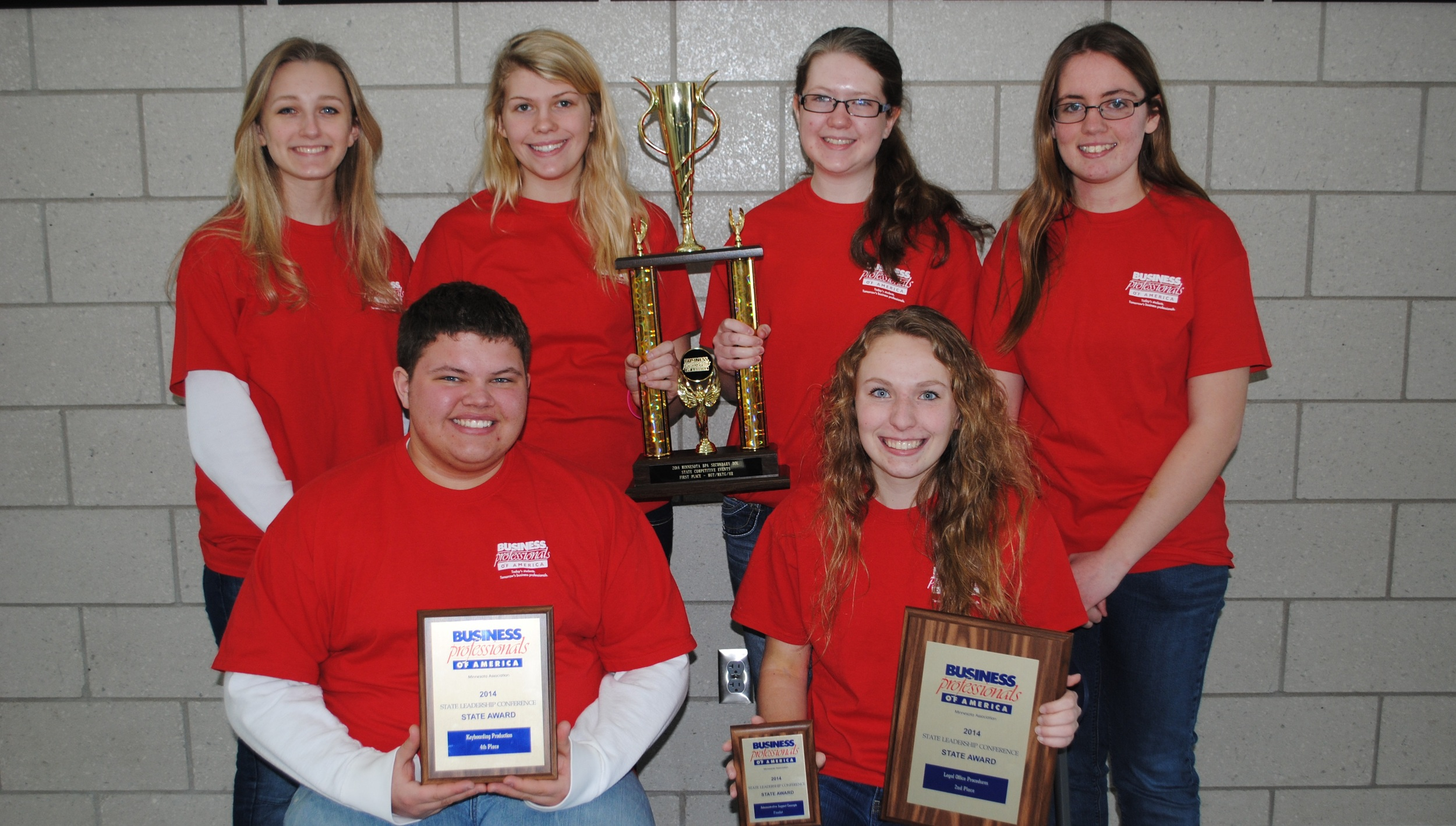 Wadena-Deer Creek BPA members who participated in the State Leadership Conference this past weekend were, front, from left: Austin Hendershot and Paige Hartman, who both qualified for the national conference; back row, from left: Marissa Jahnke, Brandee Bly, Elise Kallevig and Ashley Peters. Not pictured: Anna Kraemer. (Photo by Dana Pavek, WDC Schools)