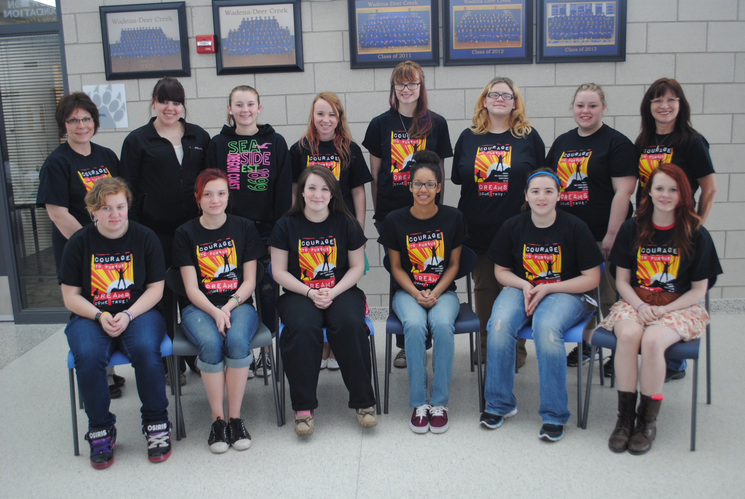 Wadena-Deer Creek FCCLA members who attended the State Conference in Bloomington last week, were (front row, from left):  Hayley Maloney, Raine Curtis, Hope Norenberg, Kayla Hanson, Lyndsay Frisch and Kayla Peterson; back row, from left: Sheila Winkels, advisor; Angela Torkkola, Jessica Langer, Anissa Mench, Kendra Curtis, Divina Turley, Shania Lannes and Cindi Koll, advisor. Missing: Caitlin Savage. (Photo by Dana Pavek, WDC Schools)