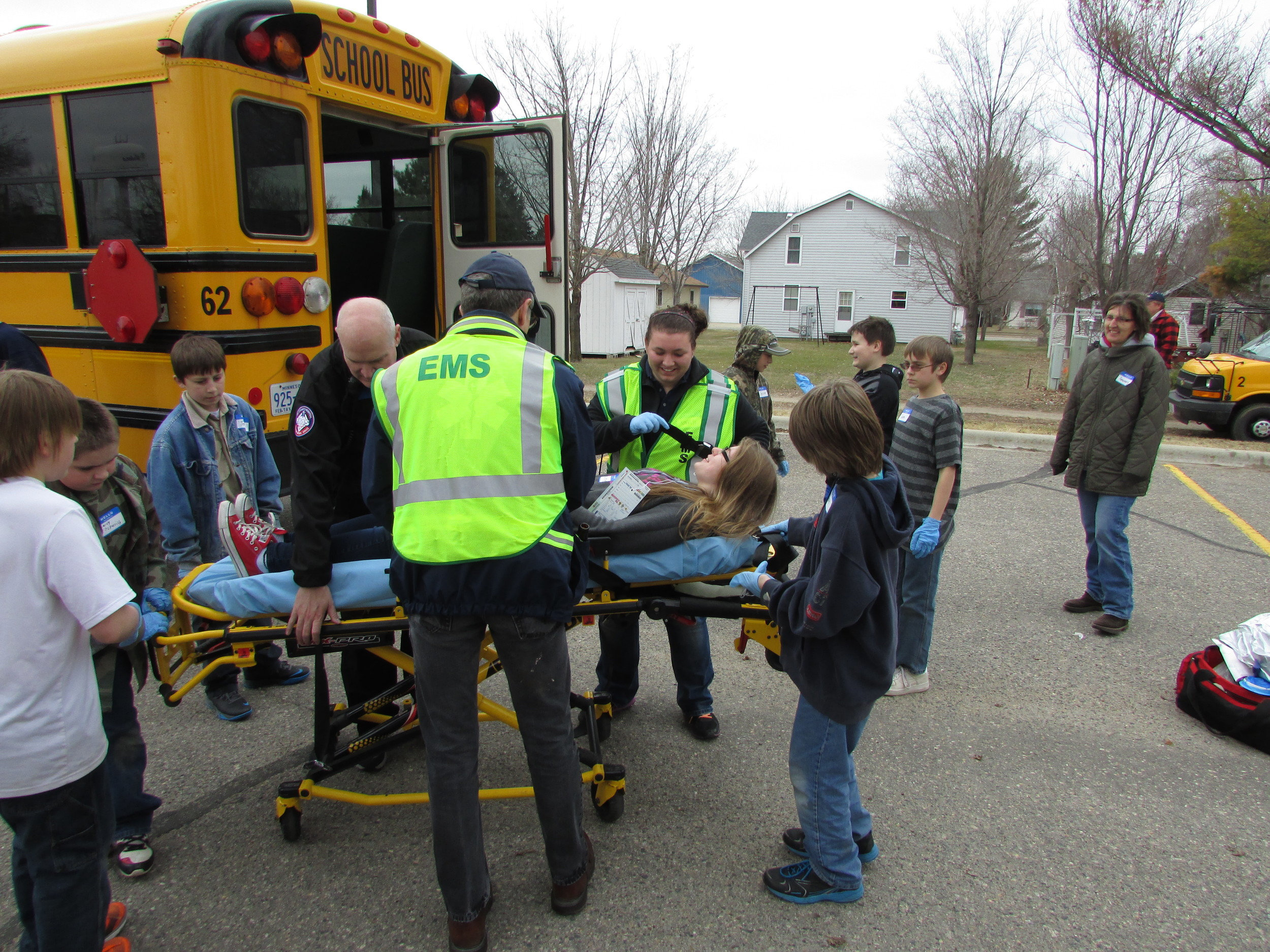 The mock drill helps Tri-County Hospital's medical staff prepare for emergency readiness in case a real-life situation such as a head-on collision between a vehicle and school bus occurs. (Photos by Ann Pate)
