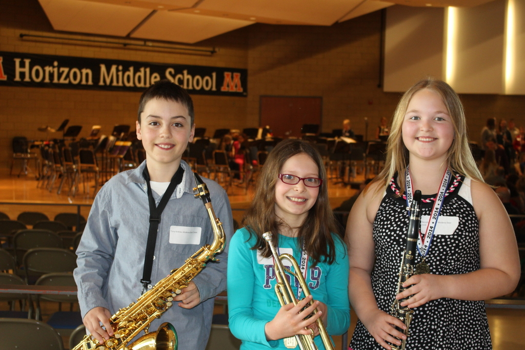 WDC fifth-grade band students performing at the band festival in Moorhead were, from left: Tony Kreklau, Tess Jones and Nevada Schulz. (Photo by Matt Jones)