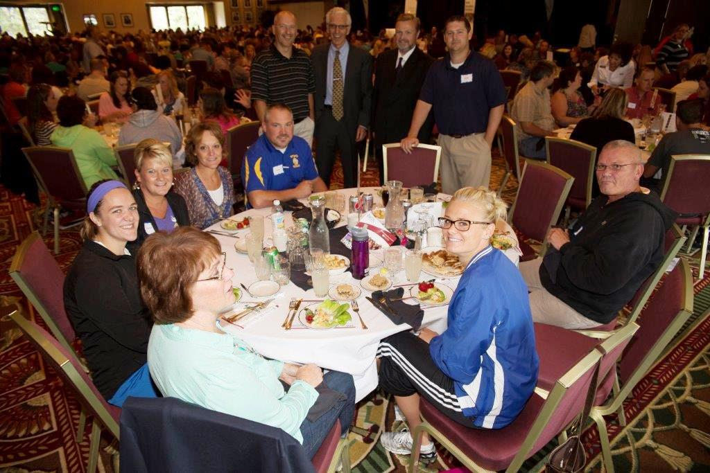 Dr. Marzano stopped by to visit with WDC teachers and administrators during the workshop. Pictured in back, standing, from left: Louis Rutten, Dr. Marzano, Lee Westrum and Tyler Church; sitted at table, clockwise: Howie Kangas, Katrina Wahlin, Cheryl Kellen, Tracy Fruechte, Heidi Van Dyke, Kathy Thoreson and Norm Gallant. (Courtesy photo)