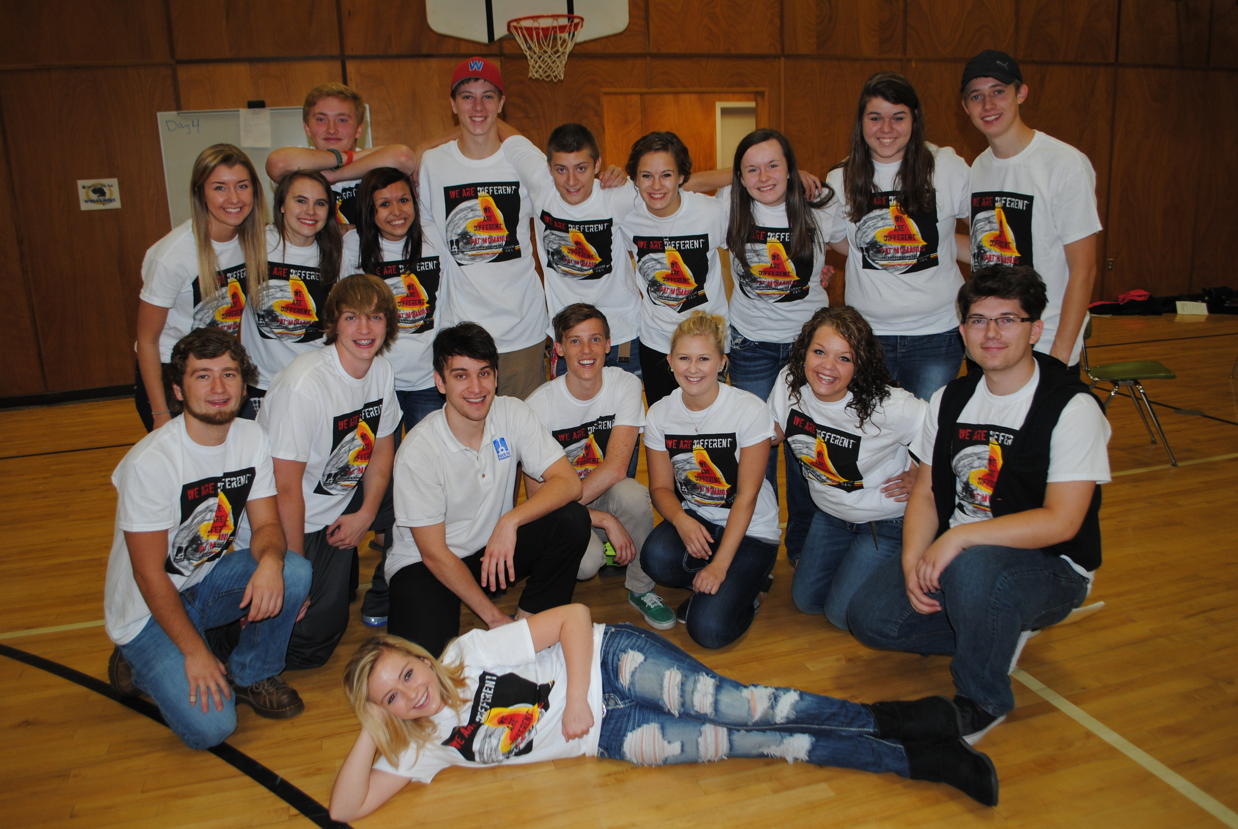 WDC High School mentors did a fantastic job helping Rock In Prevention deliver their anti-bullying message. Back row, from left: Carrie Nelson, Kassi Peterson, Wade Piper, Athea Perez, Wyatt Fitzsimmons, Toby Wood, Autumn Jahnke, Rylie Langer, Jessica Wood, Ian Olson; kneeling, from left: Dylan Phillips, Jarrett Pettit, John Correa and Andrew Droogsma, Rock In Prevention presenters; Kristyn Ament, Katy Wegscheid and David Wegscheid.
