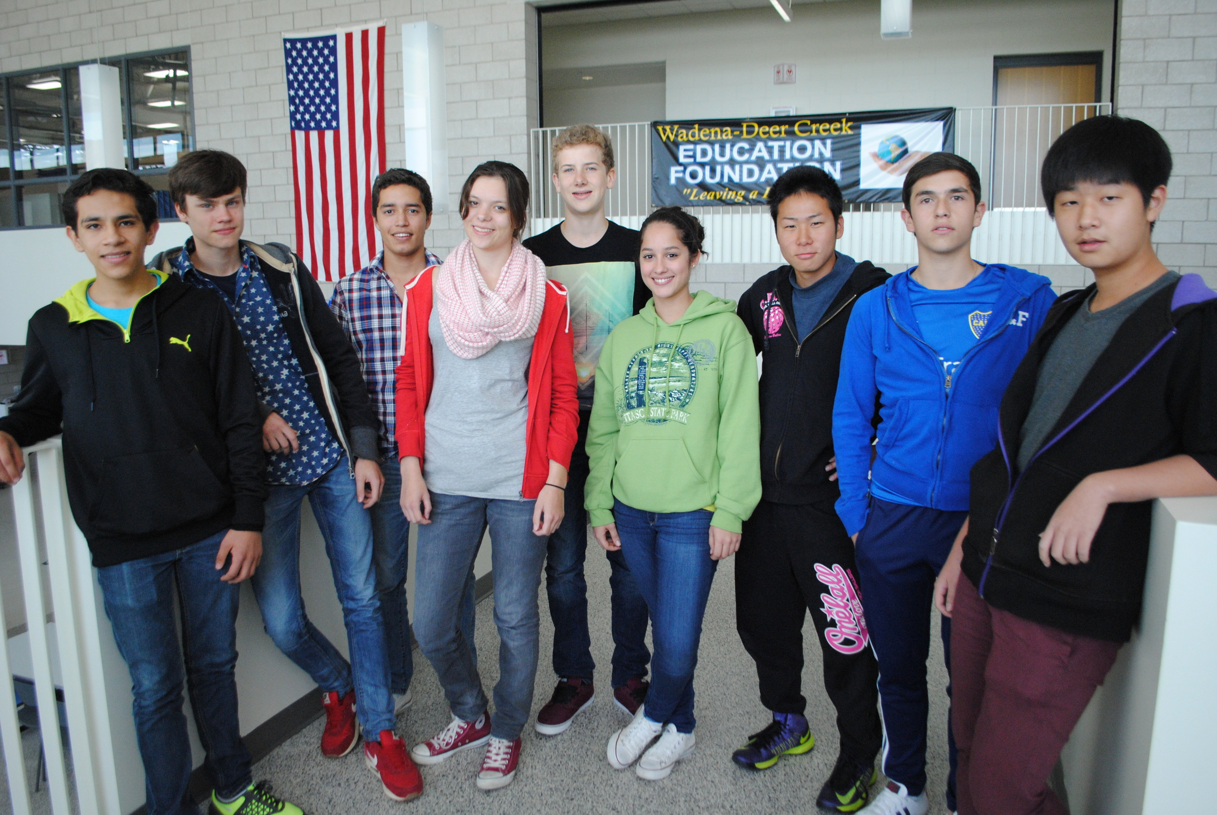 "WDC High School welcomes nine foreign exchange students for 2014-15 school year. From left to right: Jose Sandoval (Mexico), Mika Petersenn (Germany), Diego Anzures (Mexico), Laura Stangenberg (Germany), Neil Bachmann (Germany), Gabriela Noronha (Brazil), Kota Nishida (Japan), Joaquin Gutierrez Vargas (Bolivia), and Seons Yoon ""Luke"" Kim (South Korea). (Photo by Dana Pavek, WDC Schools)"