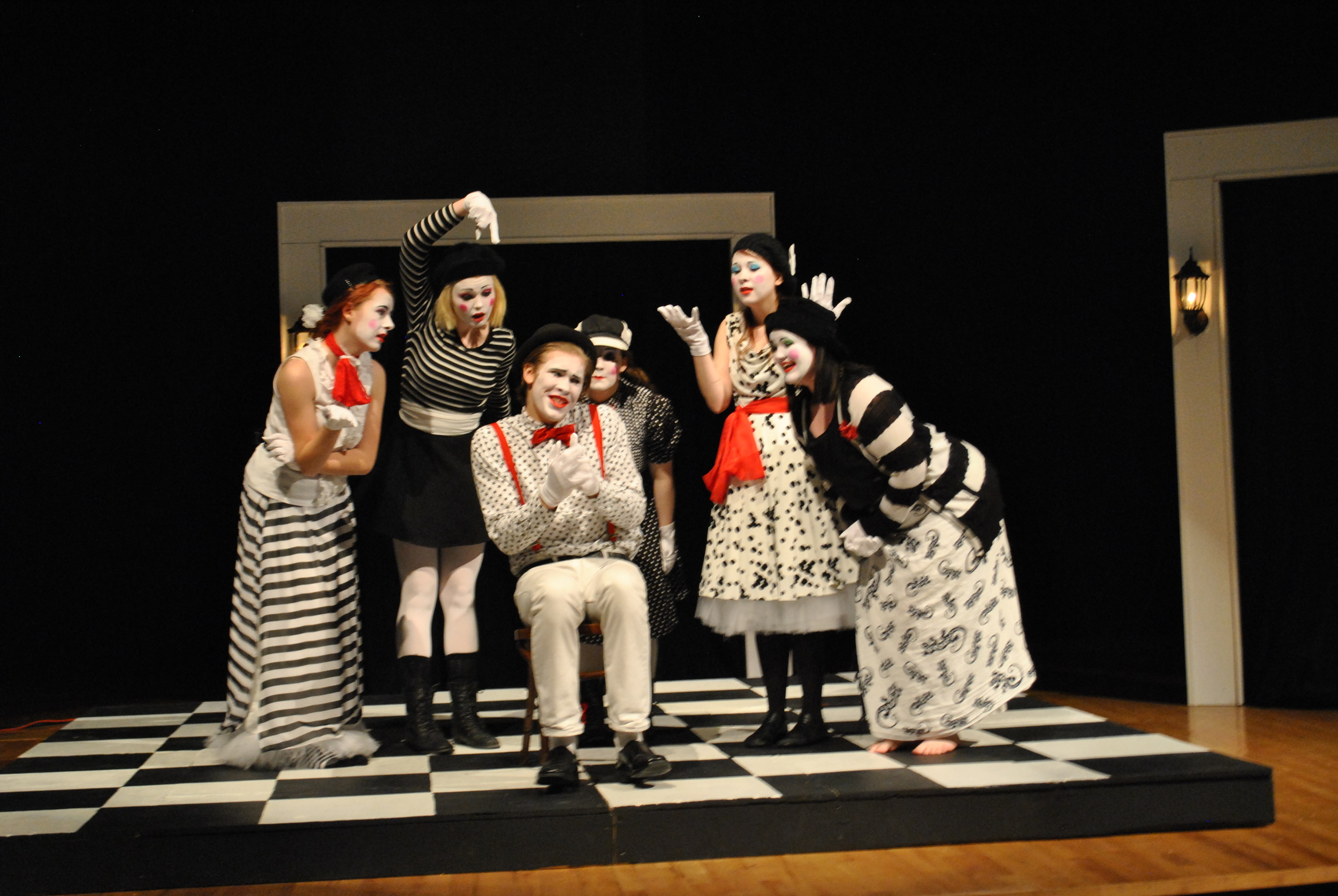 """A scene from """"The Chair Play,"""" WDC's one-act play that features beautiful costuming and a chess-inspired set. The cast and crew will compete in Sections on Jan. 31 in Hawley. (Photo by Beth Hawkins, WDC Schools)"""