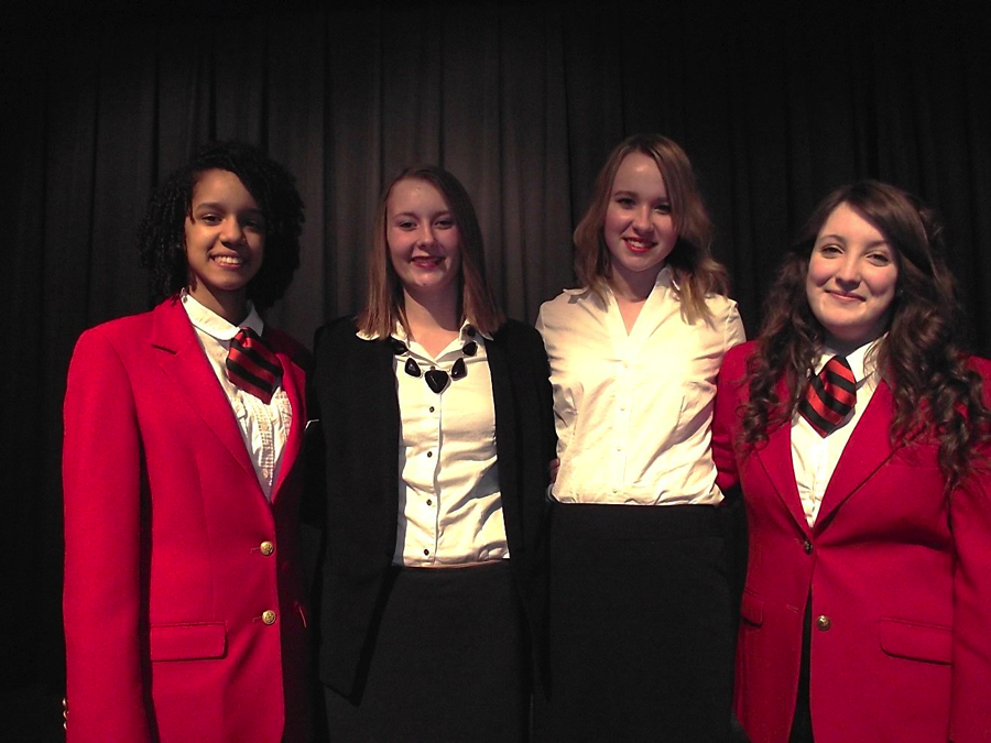 WDC FCCLA members, from left, Kayla Hanson, Jessica Langer, Anissa Mench and Hope Norenberg competed in the Region 6 STAR event on Feb. 9. All four advanced to the State STAR competition. Hanson and Norenberg are wearing red blazers because they serve as FCCLA regional and state officers—Hanson is the Region 6 treasurer and Norenberg is the State Vice President of Public Relations. (Courtesy photo)