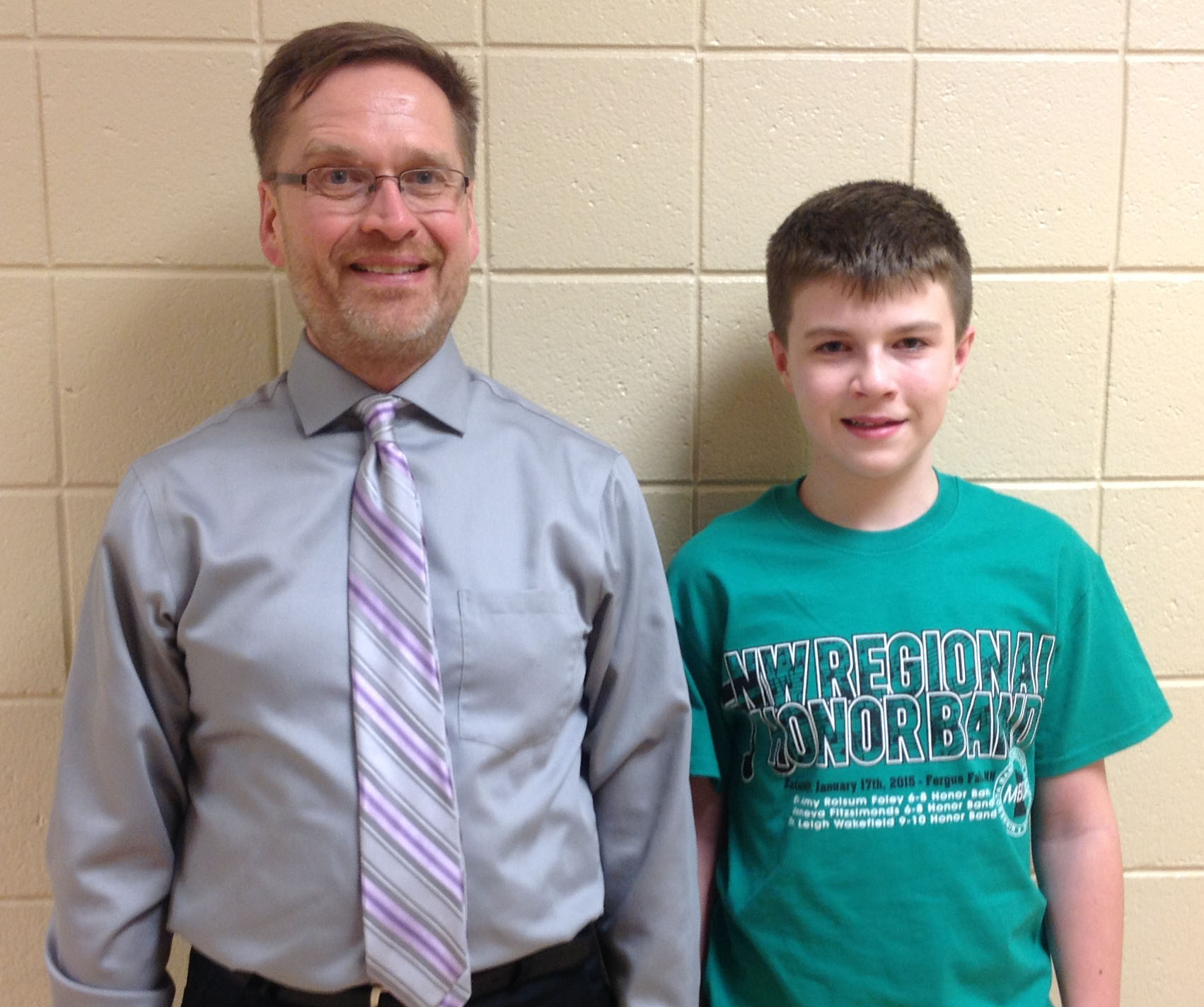 Grades 9-10 Green Band included WDC freshman Ryan Grendahl, right, with Dr. Leigh Wakefield, Band Director and Clarinet Instructor from Concordia College-Moorhead. (Photo courtesy of MBDA)