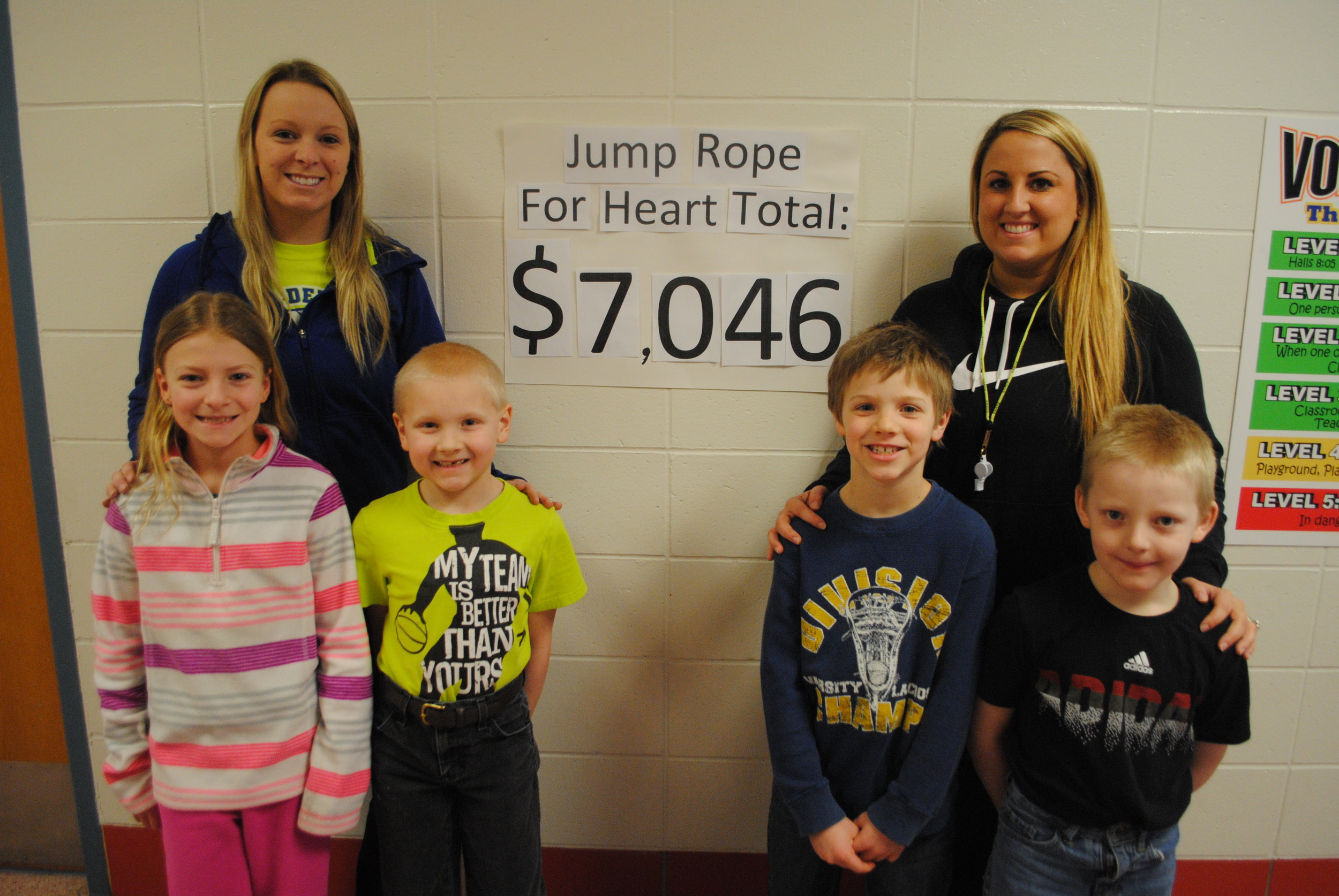 WDC Elementary surpassed their goal of $5,000 for Jump Rope for Heart, raising a whopping $7,046! Pictured with Physical Education teachers Katie Hill (left) and Danielle Jetvig-Renner, from left, are second-graders Montana Carsten, Axel Lindquist, Kobe Snyder and Logan Grangruth.