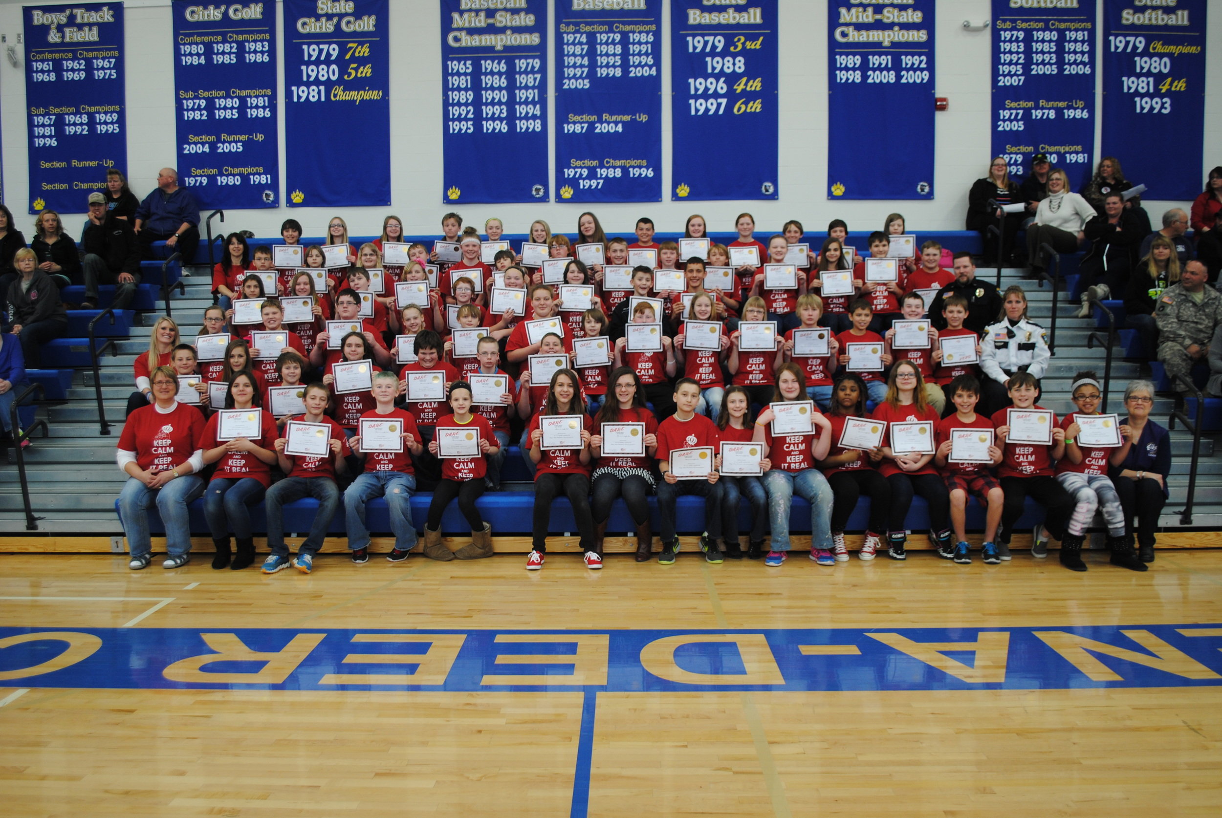 Seventy-four sixth-graders received their graduation certificate and a T-shirt at the D.A.R.E. culmination ceremony, April 8 at Wadena-Deer Creek Middle/High School.  Photos by Dana Pavek, WDC Schools.