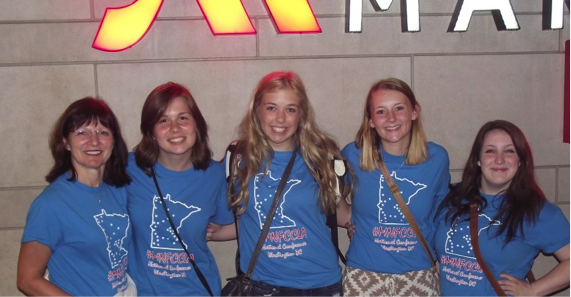 MN FCCLA delegates arriving in Washington, D.C., from left, Cindi Koll, Courtney Dinsmore, Julia Adams, Jessica Langer and Hope Norenberg. Courtney and Julia are Wright Technical Center students.