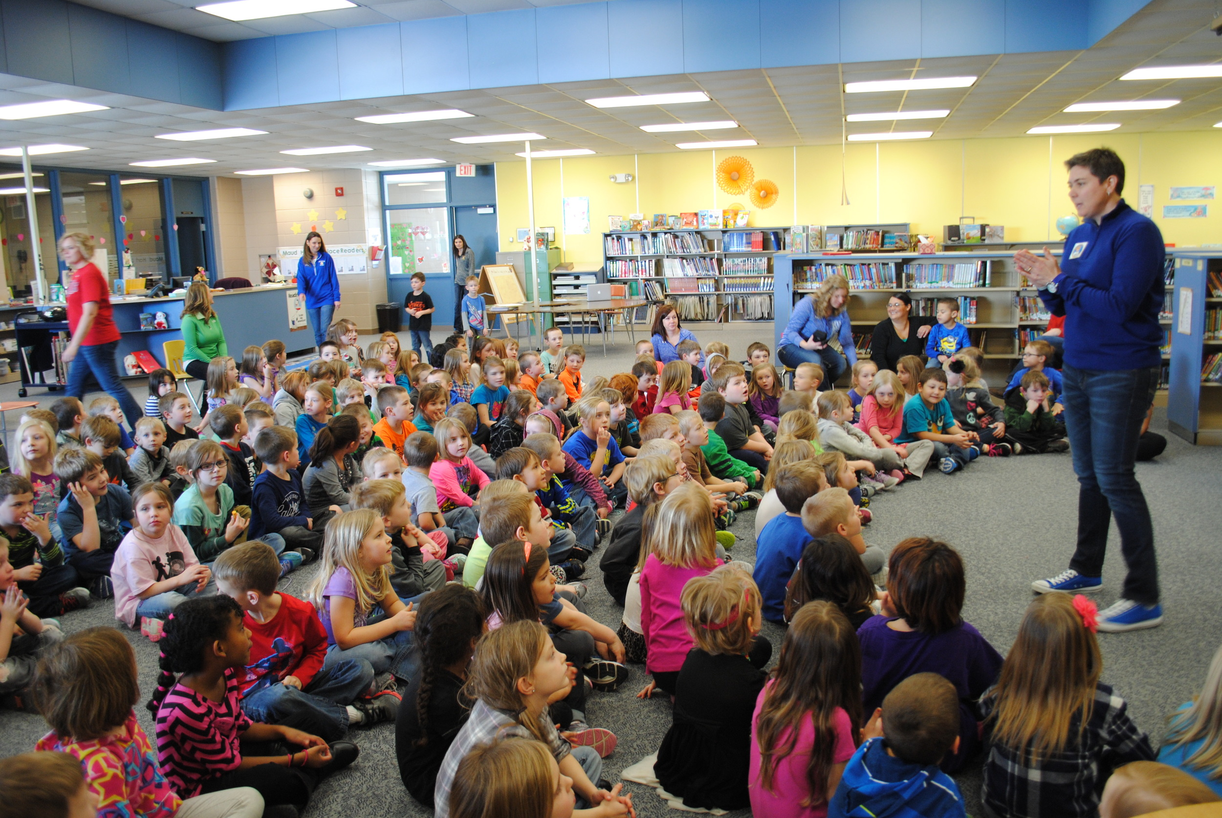 """Author Shelly Boyum-Breen speaks to kindergarteners and first-graders in the Wadena-Deer Creek Elementary media center about her book series, """"Shelly Bean the Sports Queen."""" She also spoke to grades 2-4. Photos by Dana Pavek, WDC Schools."""