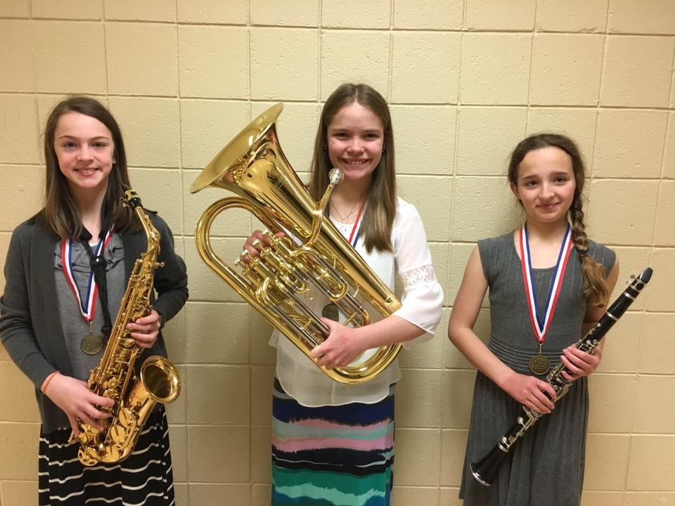 WDC sixth-grade band students who participated in the band festival, from left: Ally Pavek, Kayla Meeks and Jade Benning.