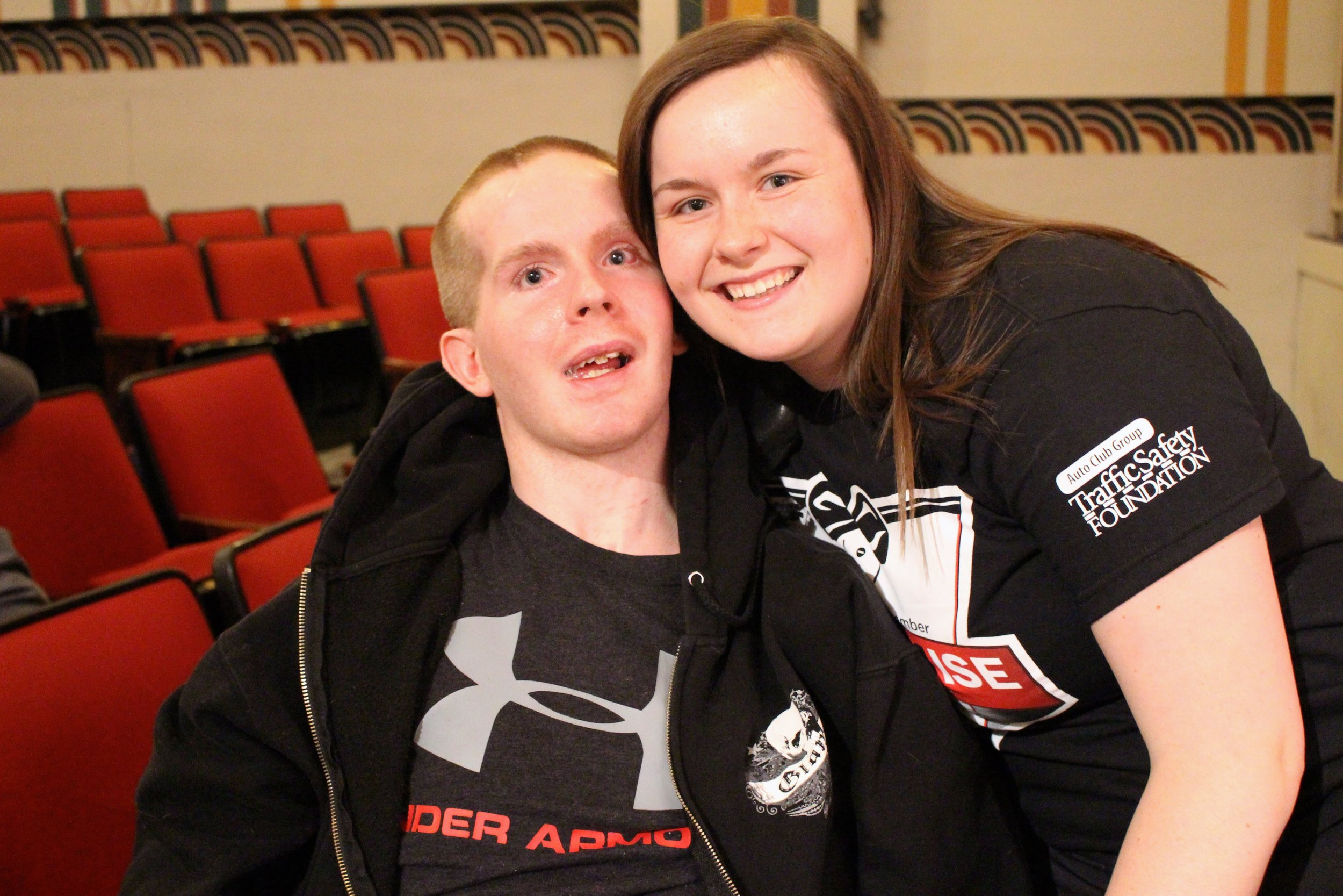 """Tyler with his sister, Rylie, who's love and devotion has turned her into an advocate for """"Don't Drink and Drive."""""""
