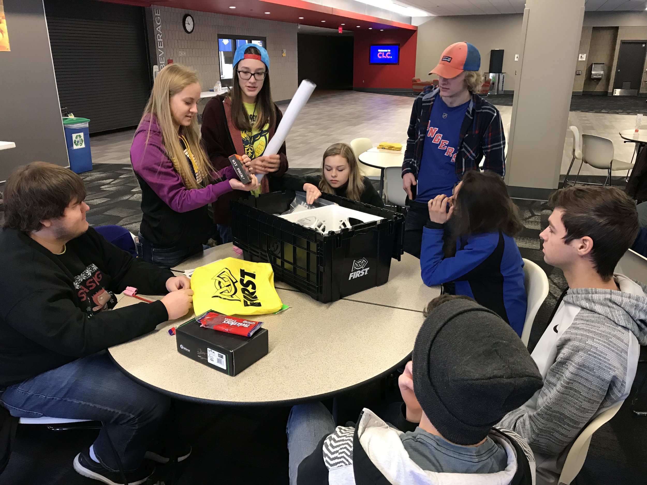 WDC robotics team opening their kit of parts at the 2018 kickoff on Jan. 6 at Central Lakes College in Staples. Photo by Shane Snyder, WDC Schools.