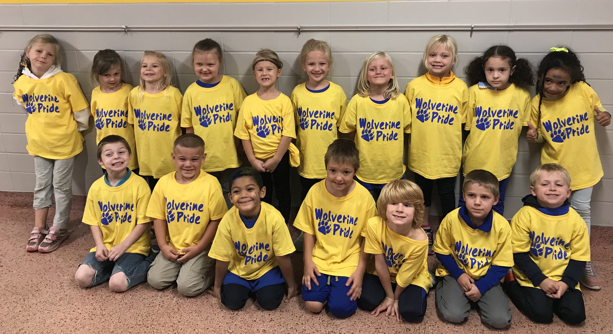 Mrs. Morlock's kindergarteners proudly show off their Wolverine Pride T-shirts!