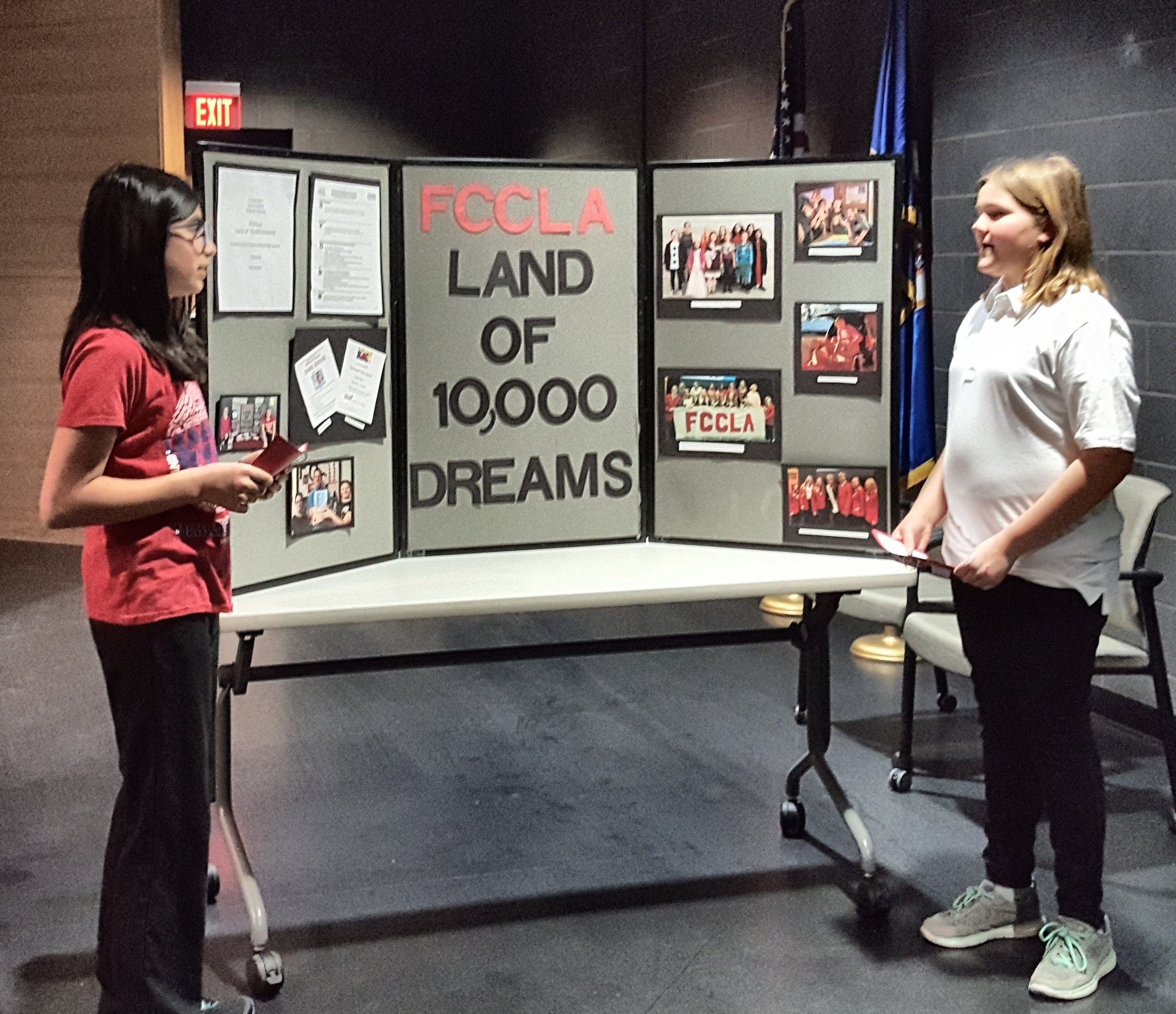 FCCLA members Jenny Varela (left) and Gracie Arm presenting their STAR Event.