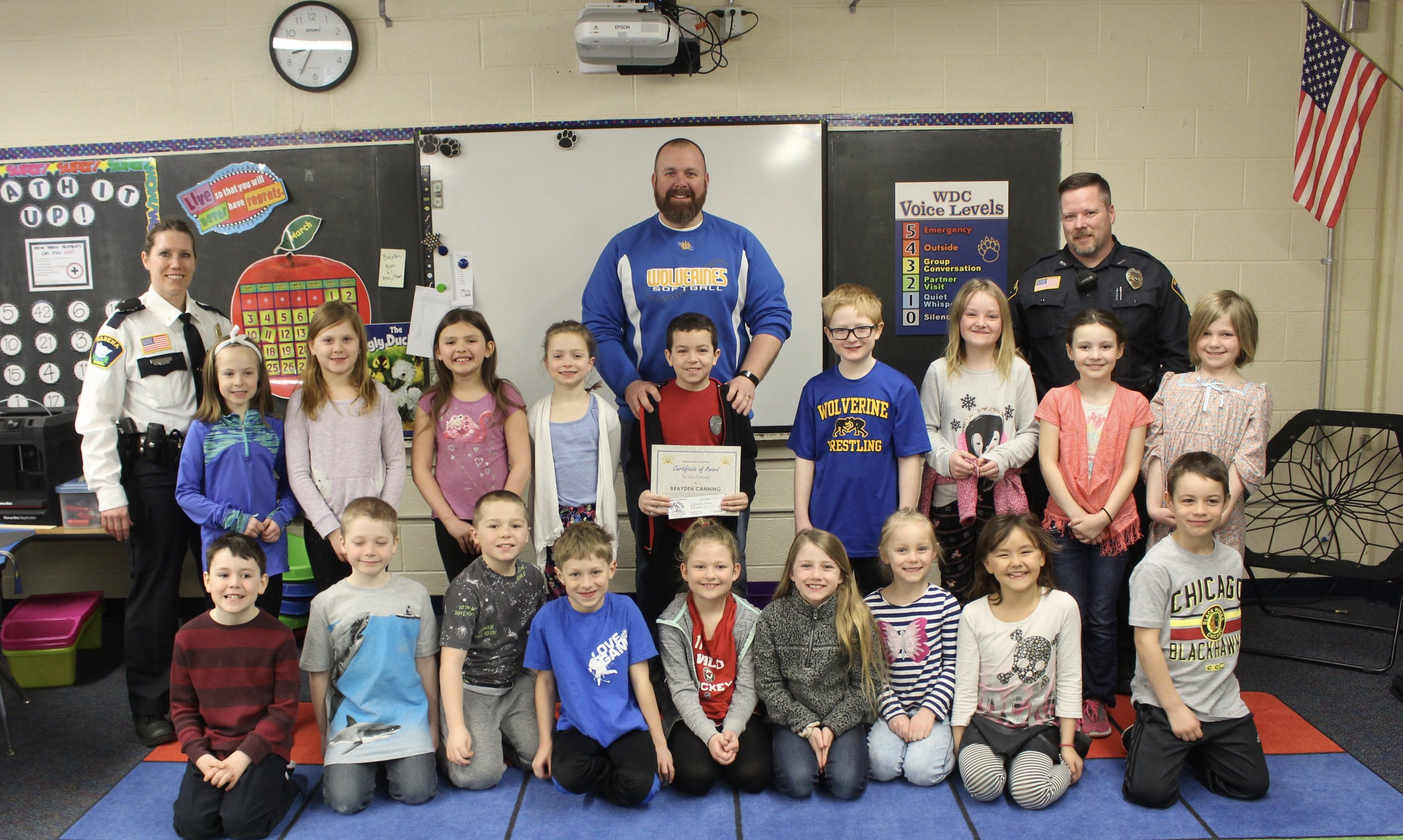 Proud day for Wadena-Deer Creek Schools as 8-year-old second-grader Brayden Canning was honored for saving his great-grandma's life. Brayden was presented with a Citizenship Award from the Wadena Police Department in front of his second-grade class and teacher Mr. Ferris. Photo by Dana Cantleberry, WDC Schools.