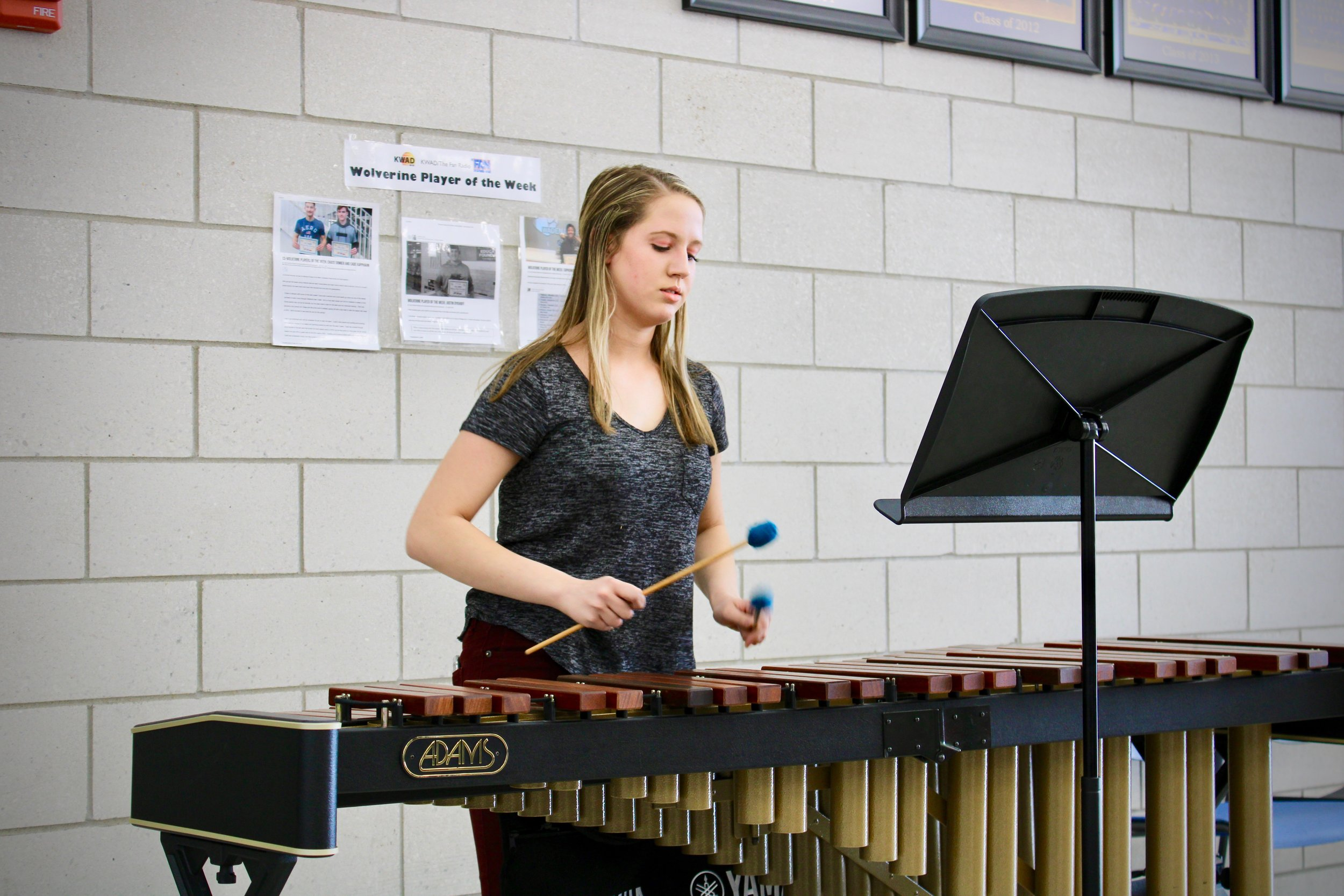 The evening's entertainment included an enchanting marimba solo performed by Junior, Margaret Carlson, exemplifying the fine arts excellence at WDC.