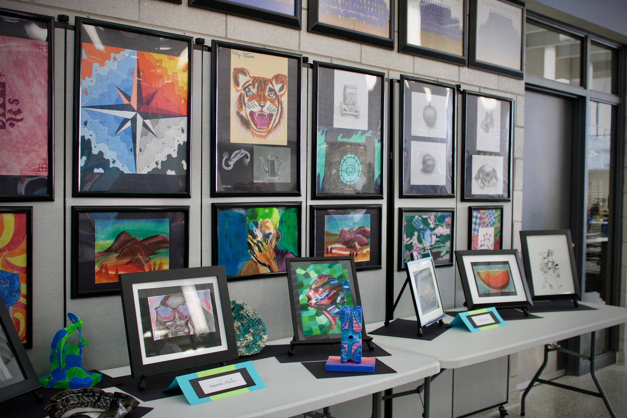 At the Wadena Rotary Fine Arts Banquet, Visual Arts Teacher Laurie Kopischke-Pulju set up an interesting display of students' artwork for parents to enjoy in the Commons at WDC Middle/High School on May 6.
