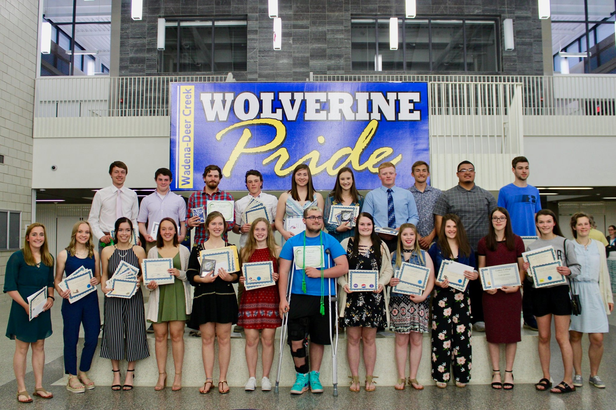 Pictured are the WDC seniors attending the awards program on May 15 (front, from left): Samantha Malone, Elissa Ikola, Grace Hinojos, Kyla Ness, Sophie Kreklau, Abby Motschenbacher, Jaron Englund, Josie Formanek, Eva Baron, Kenzie Salge, Leah Spilman, Jessica Anderson and Lael Bervig; back, from left: Dawson Lupkes, Isaac Hale, Maxwell Phillips, Colby Schertler, Kylee Hopp, Ashley Adams, Wyatt Hamann, Cade Kapphahn, Steven Thomas and Bailey Kaufman. Not pictured: Amber Moen. Photo by Chelsey Jo Dagen, WDC Schools.