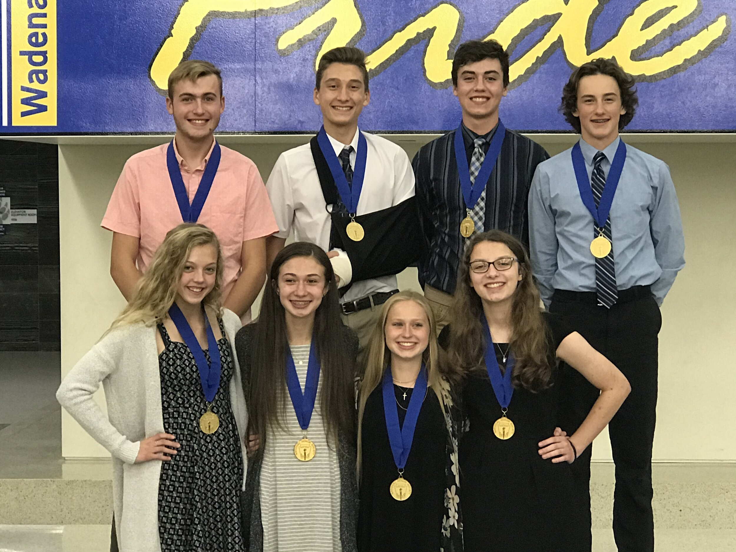Junior students inducted into Wadena-Deer Creek's National Honor Society chapter include, front row, Emma Bushinger, Kira Sweeney, Emma Mehl and Sara Goetze; back, from left, Elliot Doyle, Aiden Larson, Tony Kreklau and Kade Woods. Not pictured: Nevada Schulz.
