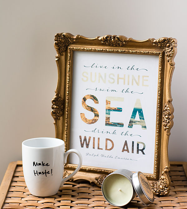 Etsy Swap 2014 - quote printable, christmas tree candle, and Jane Austen Mug