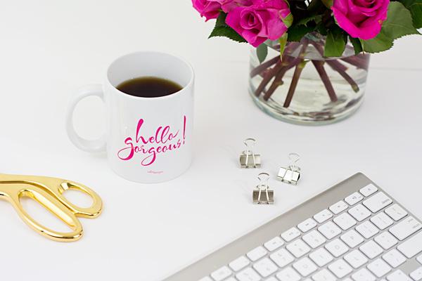 Hello Gorgeous! Coffee Mug by Celise Designs // Photography by ChristinaElyse.com