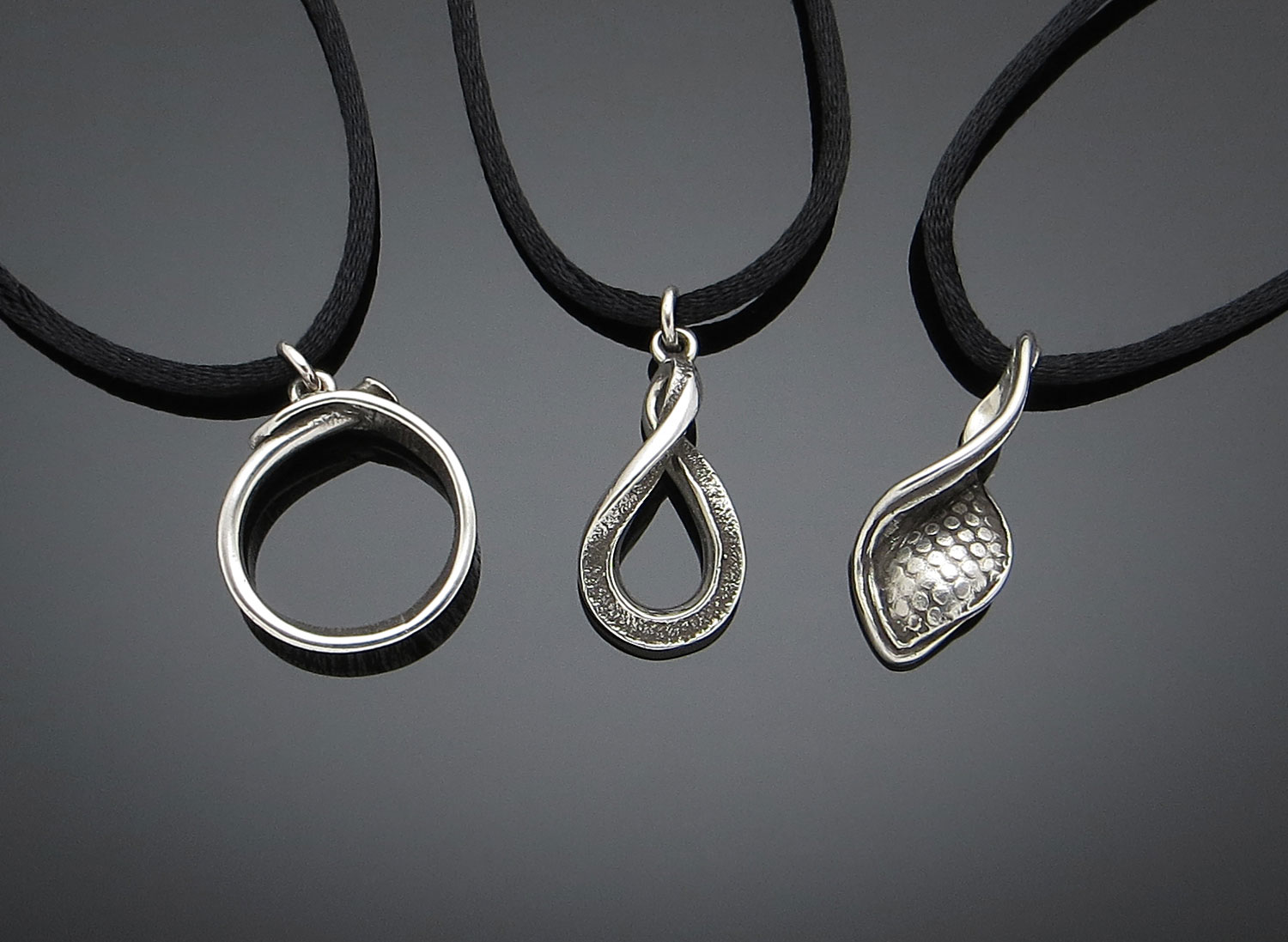 Sterling pendants on satin cord