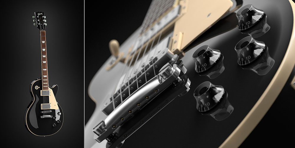 This is a CGI photo of a les Paul guitar.
