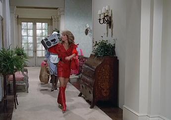 Sammy Jo knows how to make an entrance. Who needs a walkman?