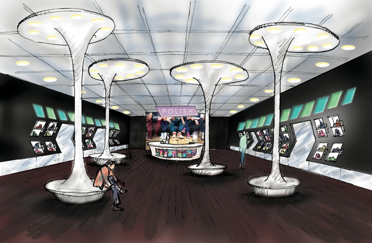 Store Interior boasts mahogany floors, LED screens, and circular seating.