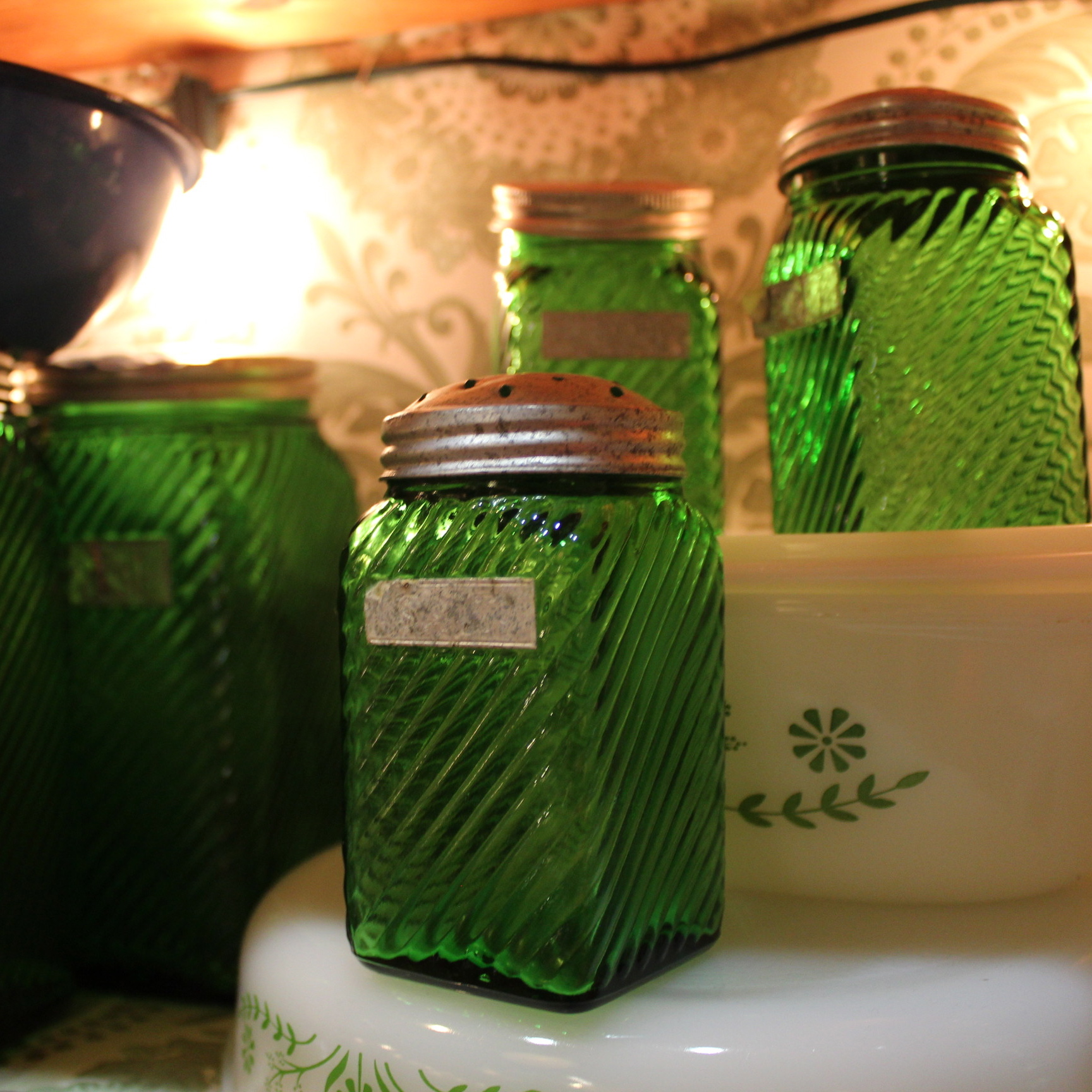 Green Glass Jars