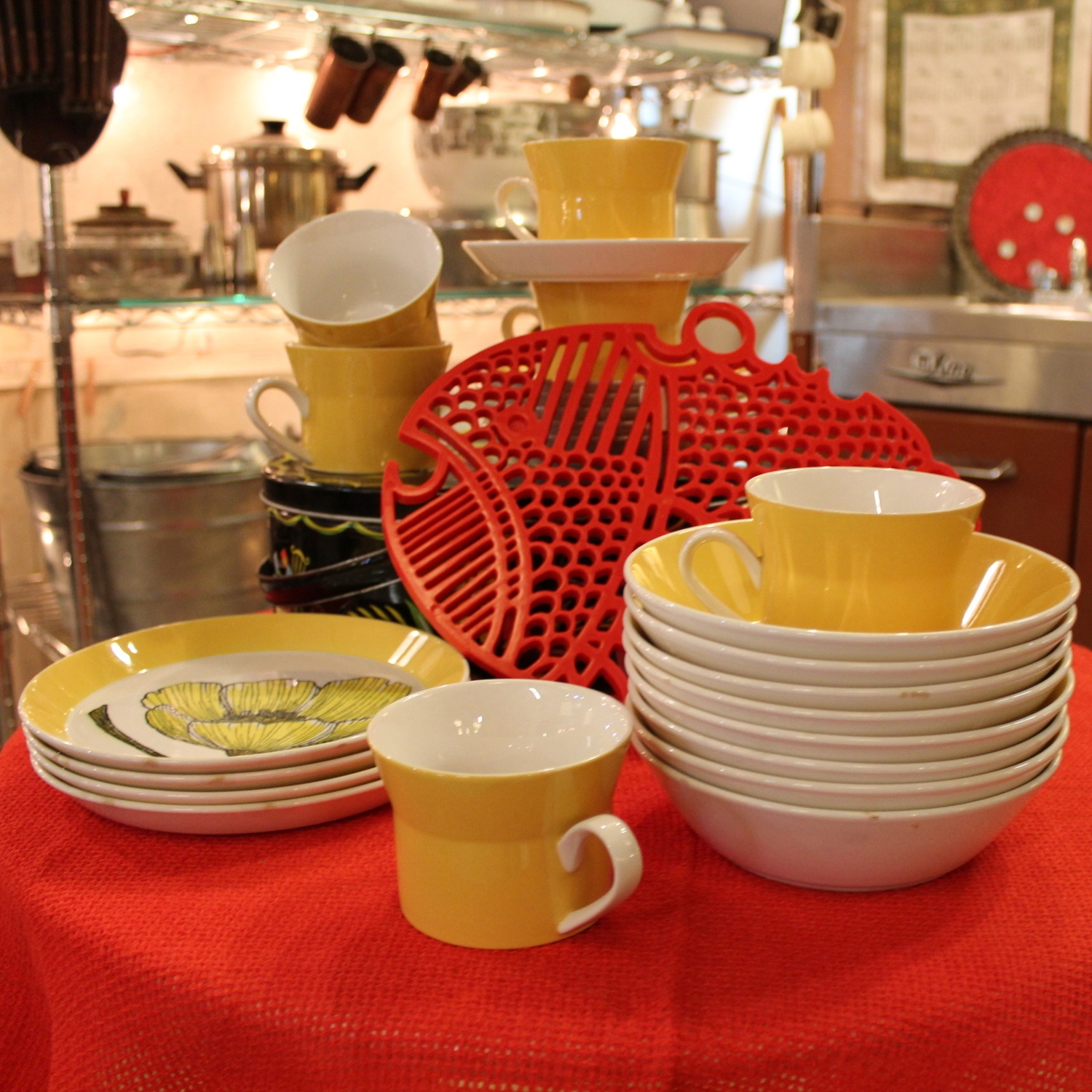 Yellow and Red Dishware Display