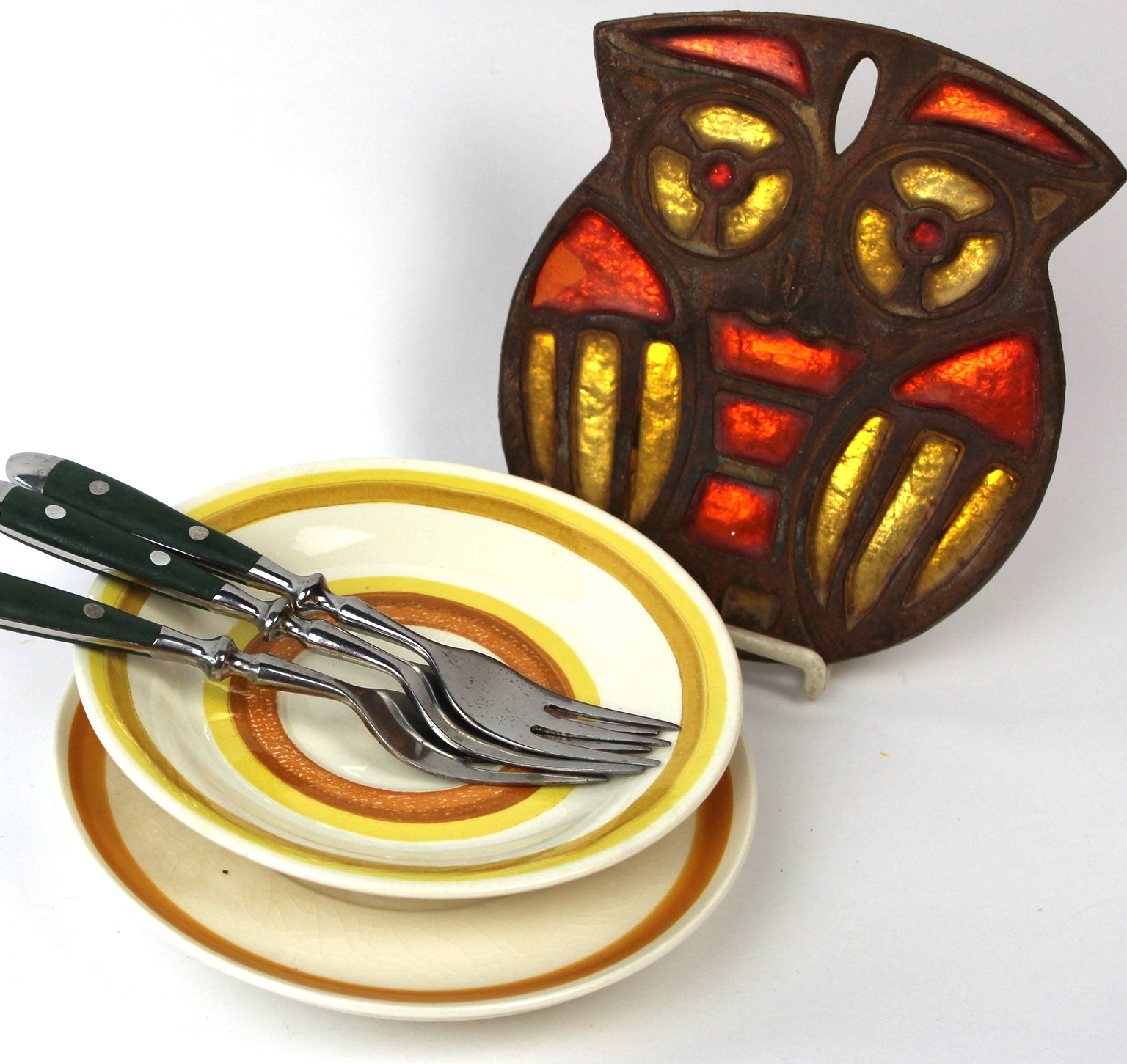 Owl Trivet and Serving Dishes