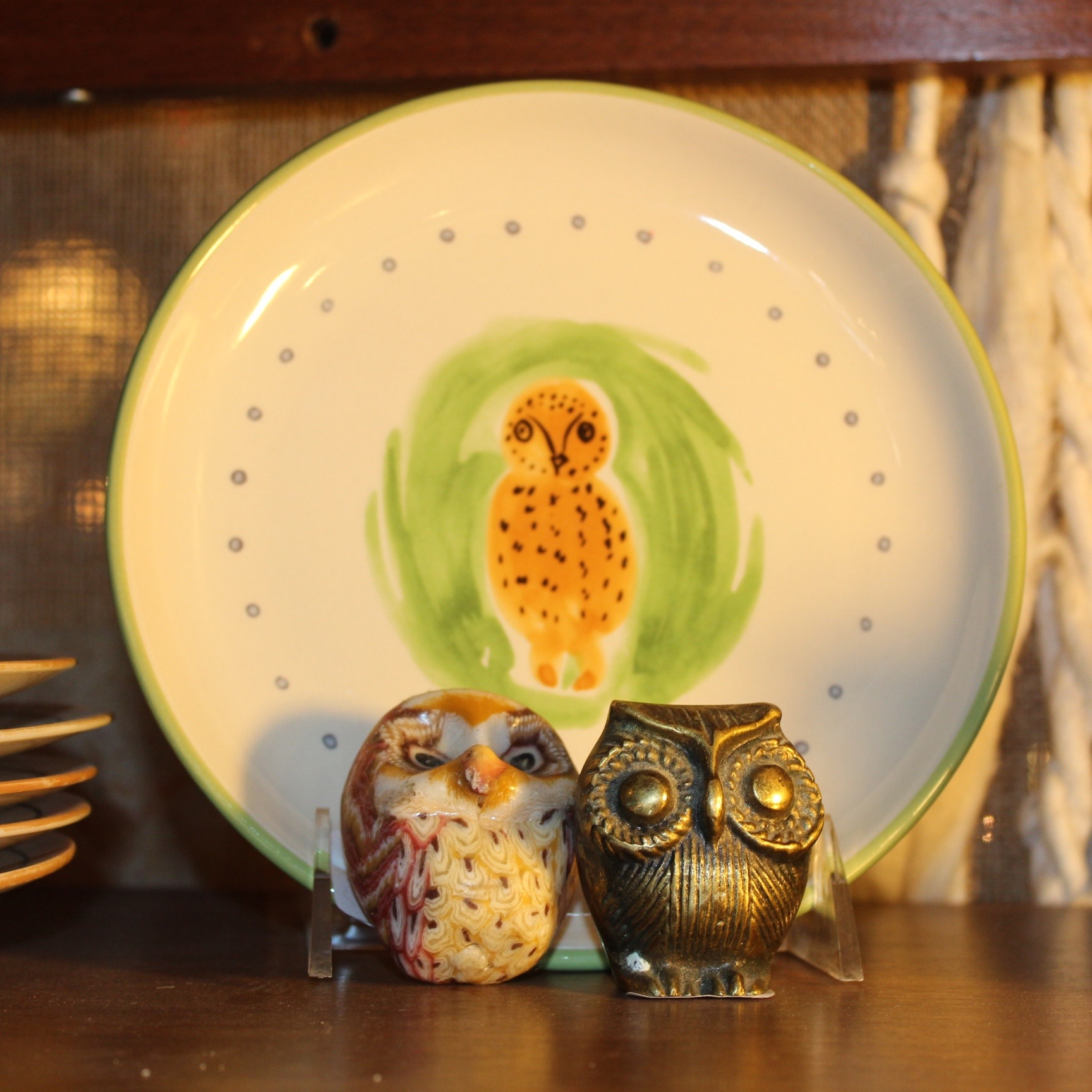 vintage Owl Plate, Candle and Figurine