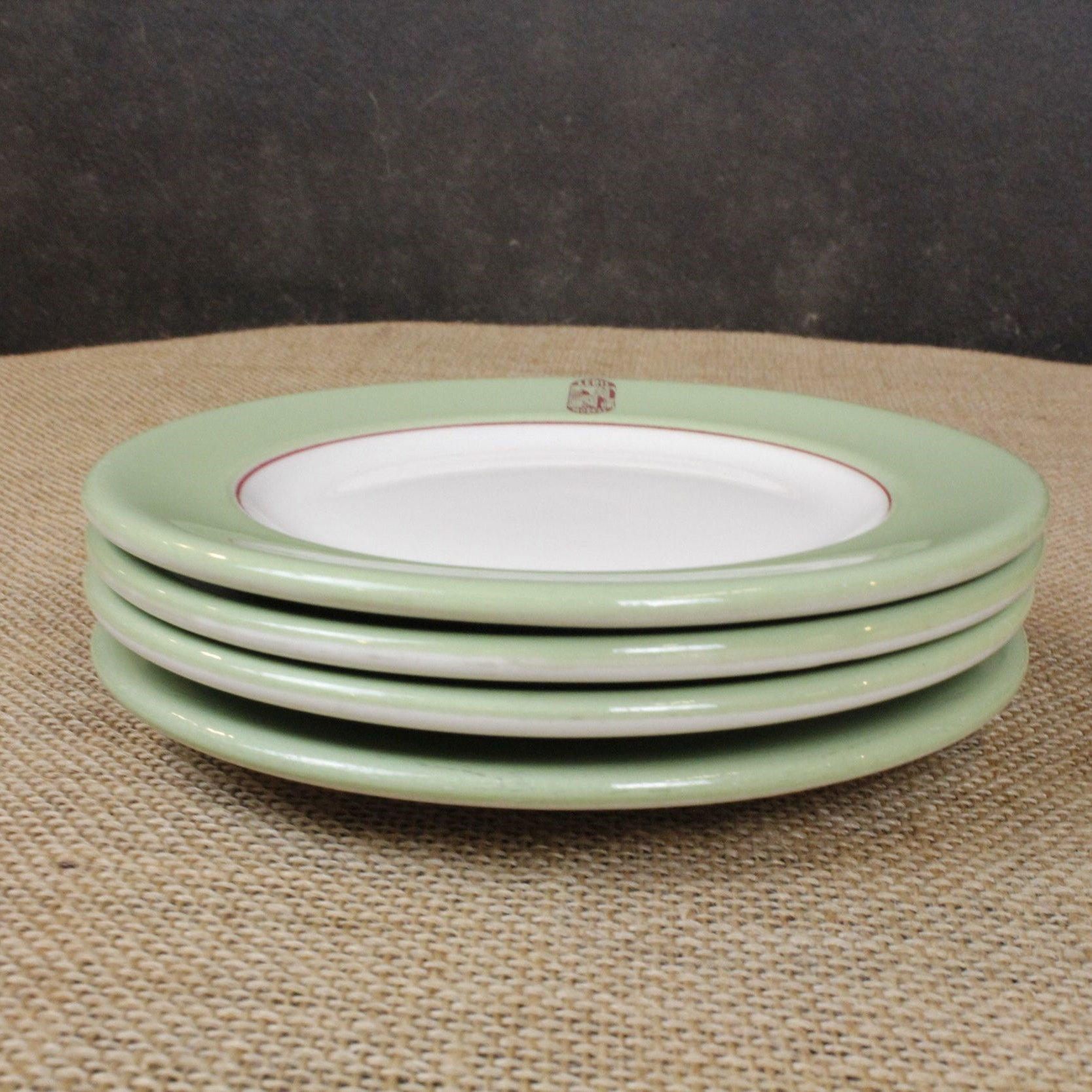 Vintage Green & Gold Plate Set