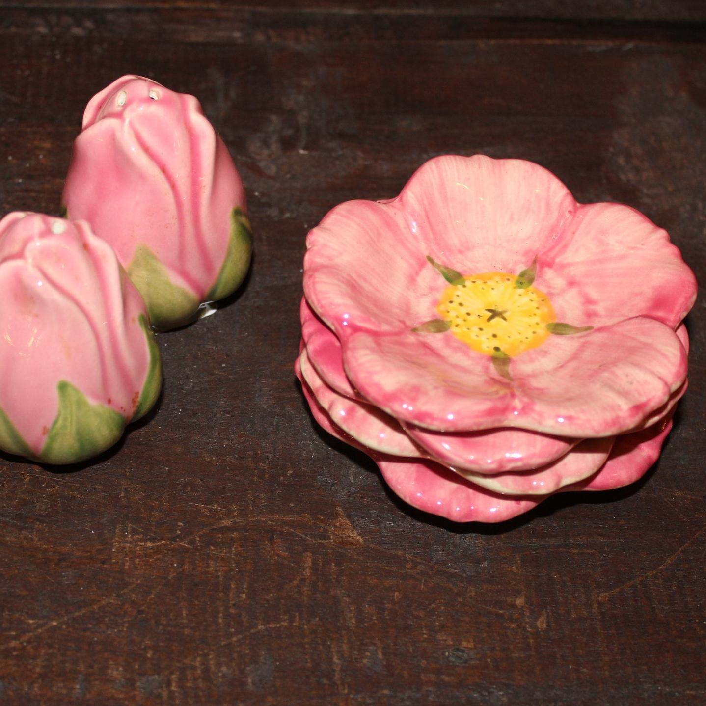Rosebud Shakers and Rose MIni Dishes