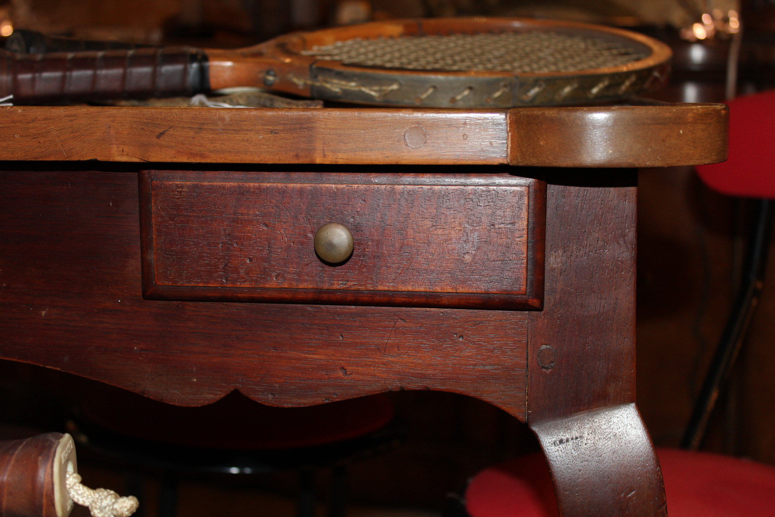 Side drawer on antique French card table