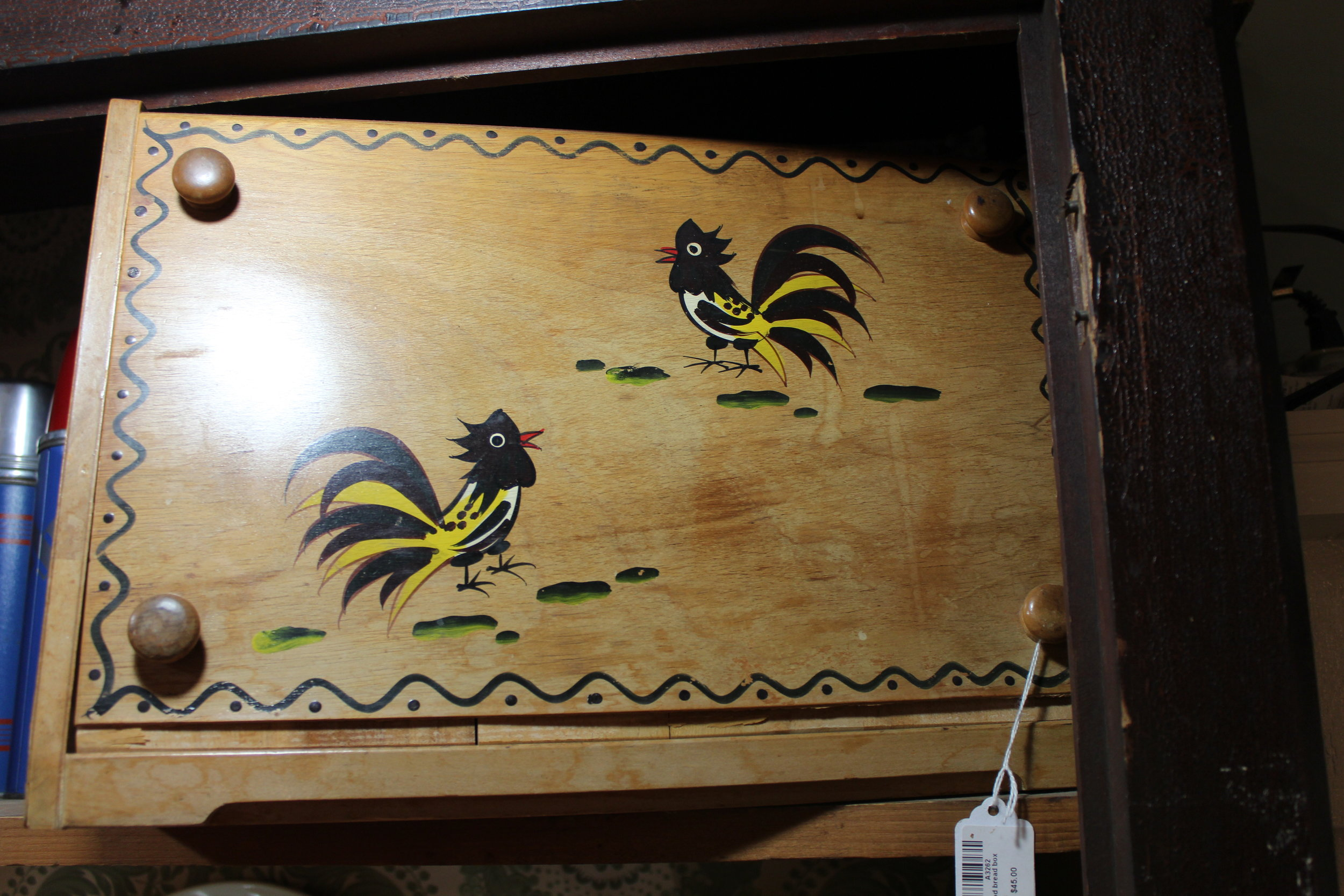 Handpainted wooden rooster breadbox