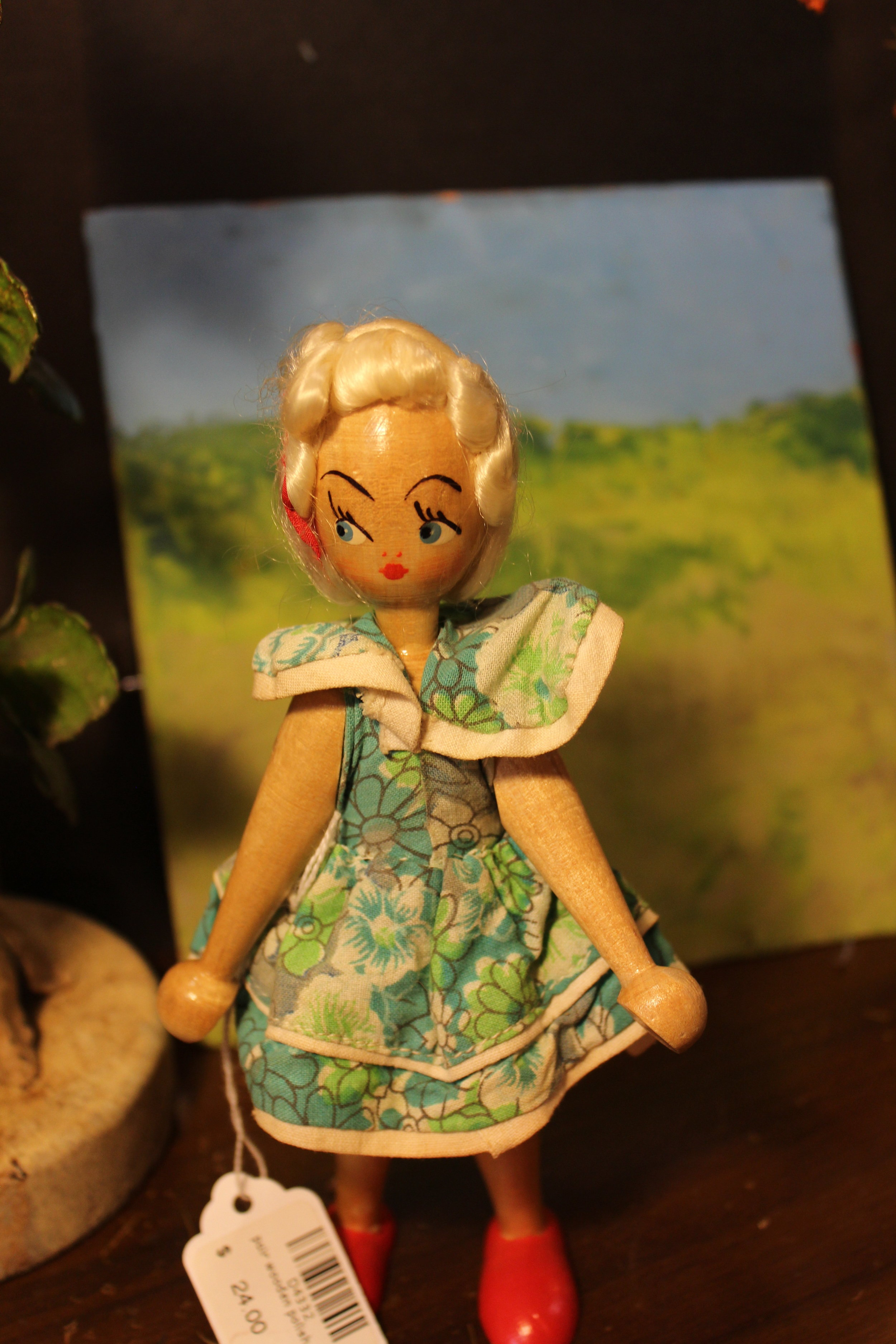 Antique wooden handpainted doll