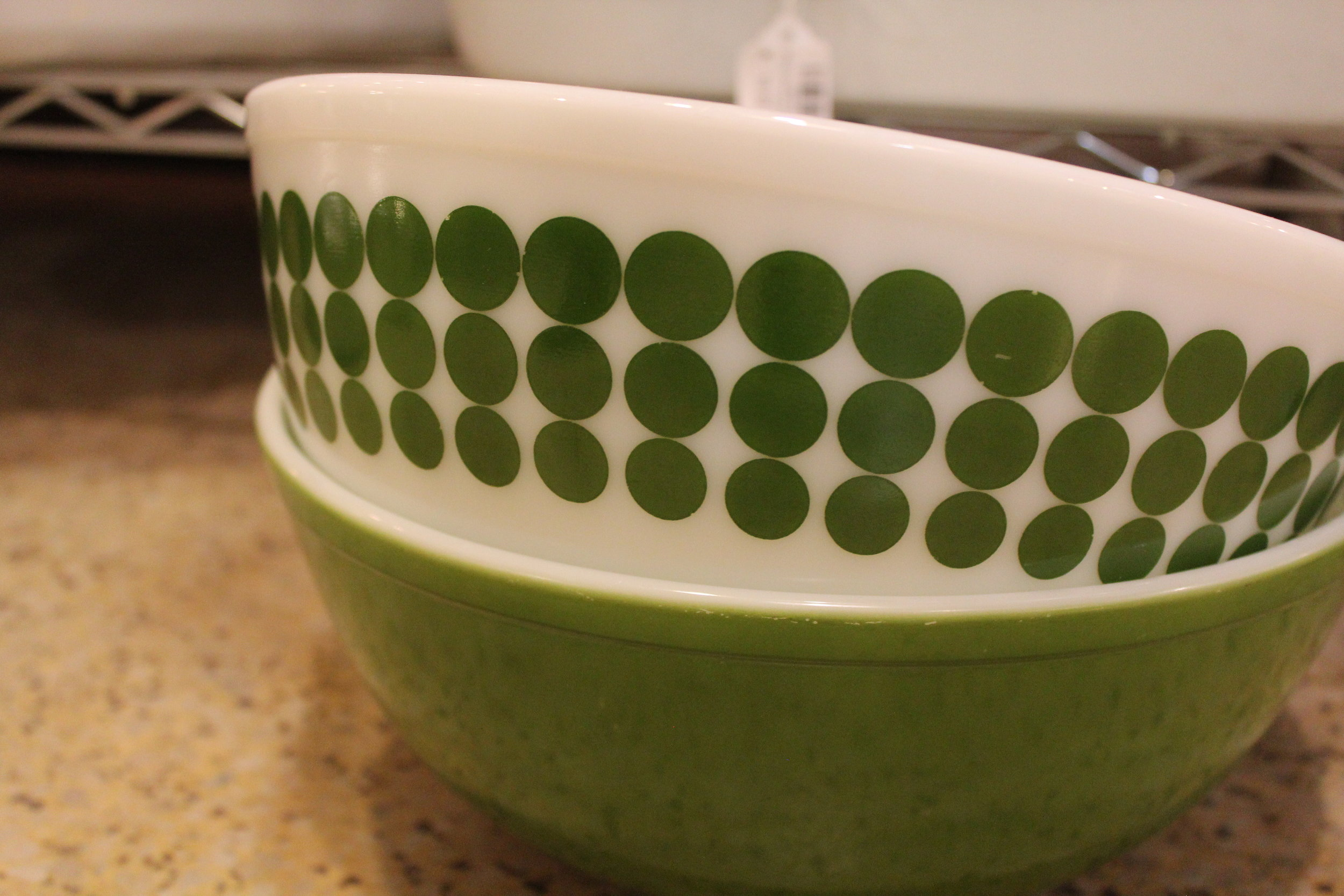 mid-century modern green and white bowls