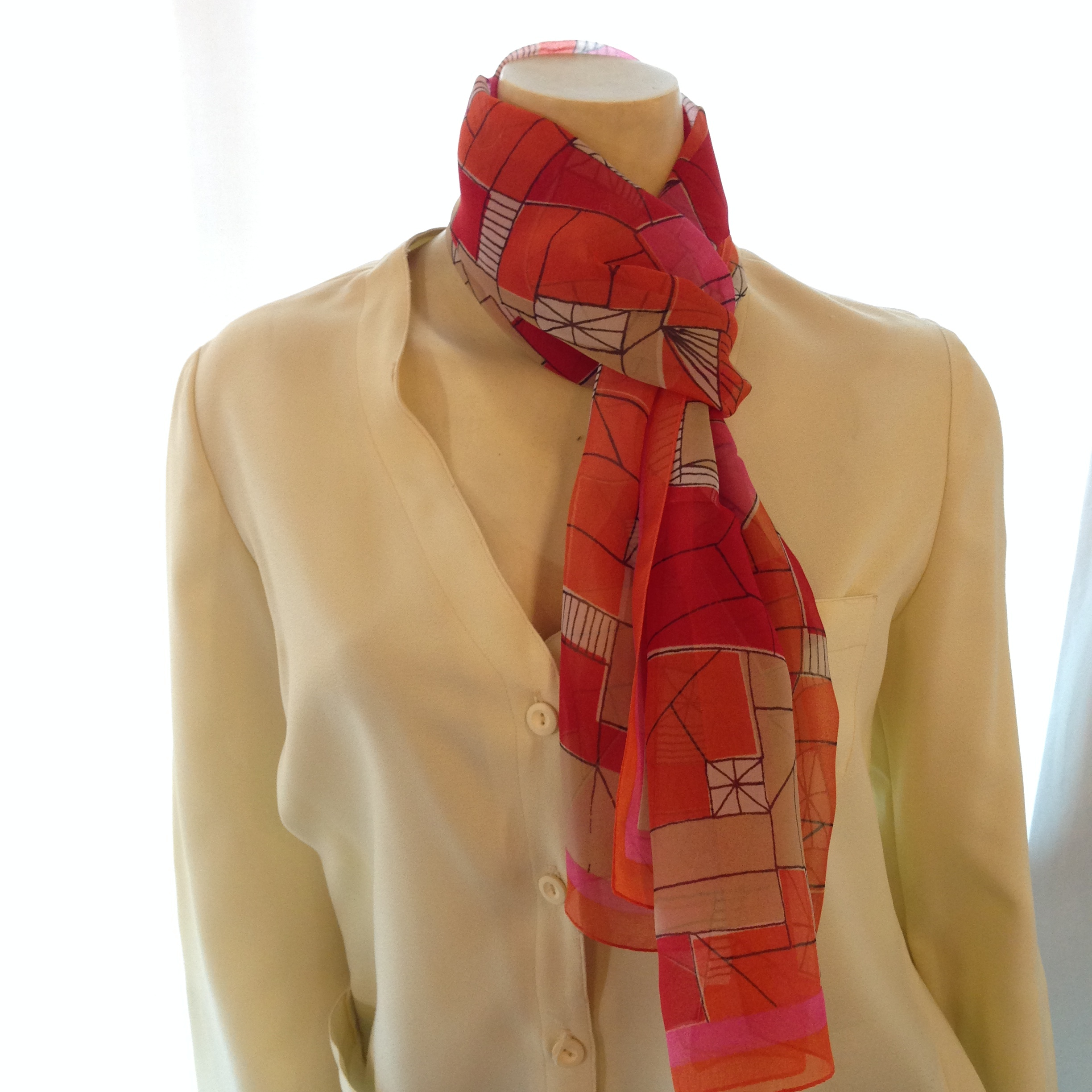 Bold Orange & Red Geometric Pattern Vintage Vera Scarf