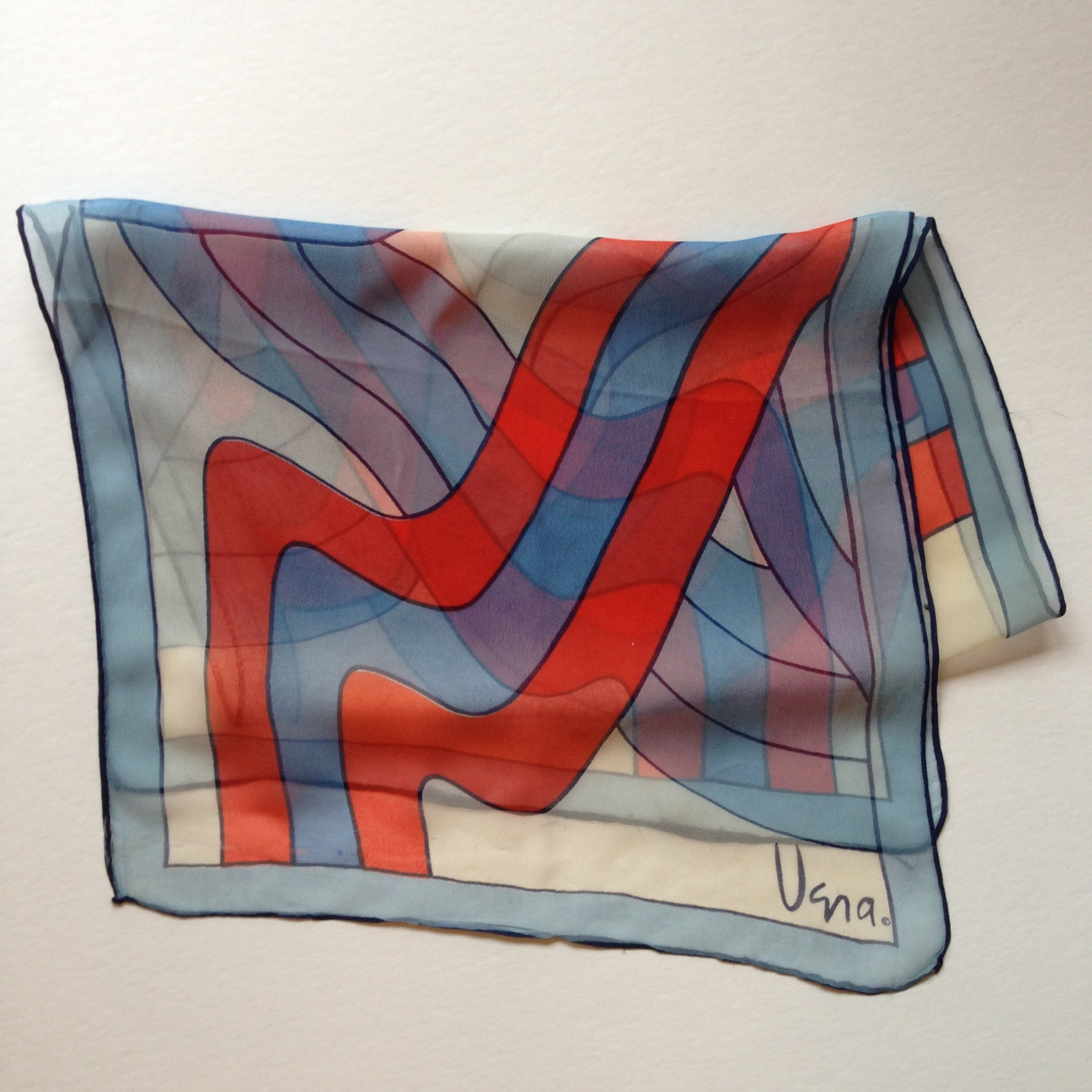 Red & Blue Squiggle Vintage Vera Sheer Scarf