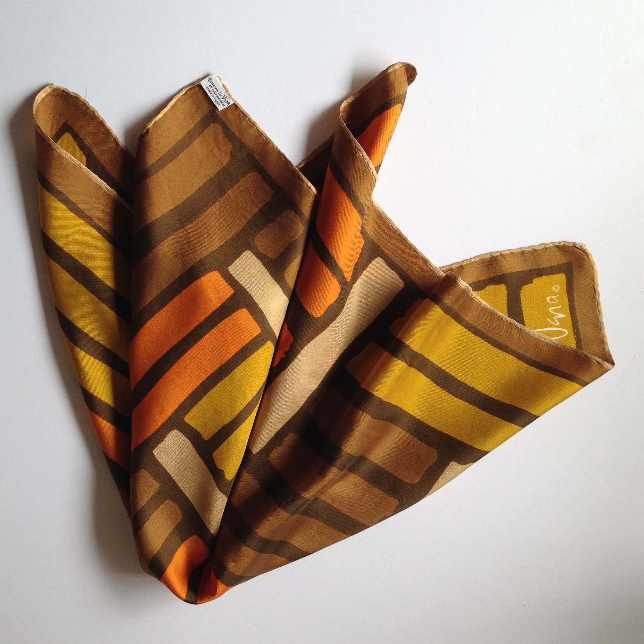 Brown and Orange Striped Vintage Vera Scarf