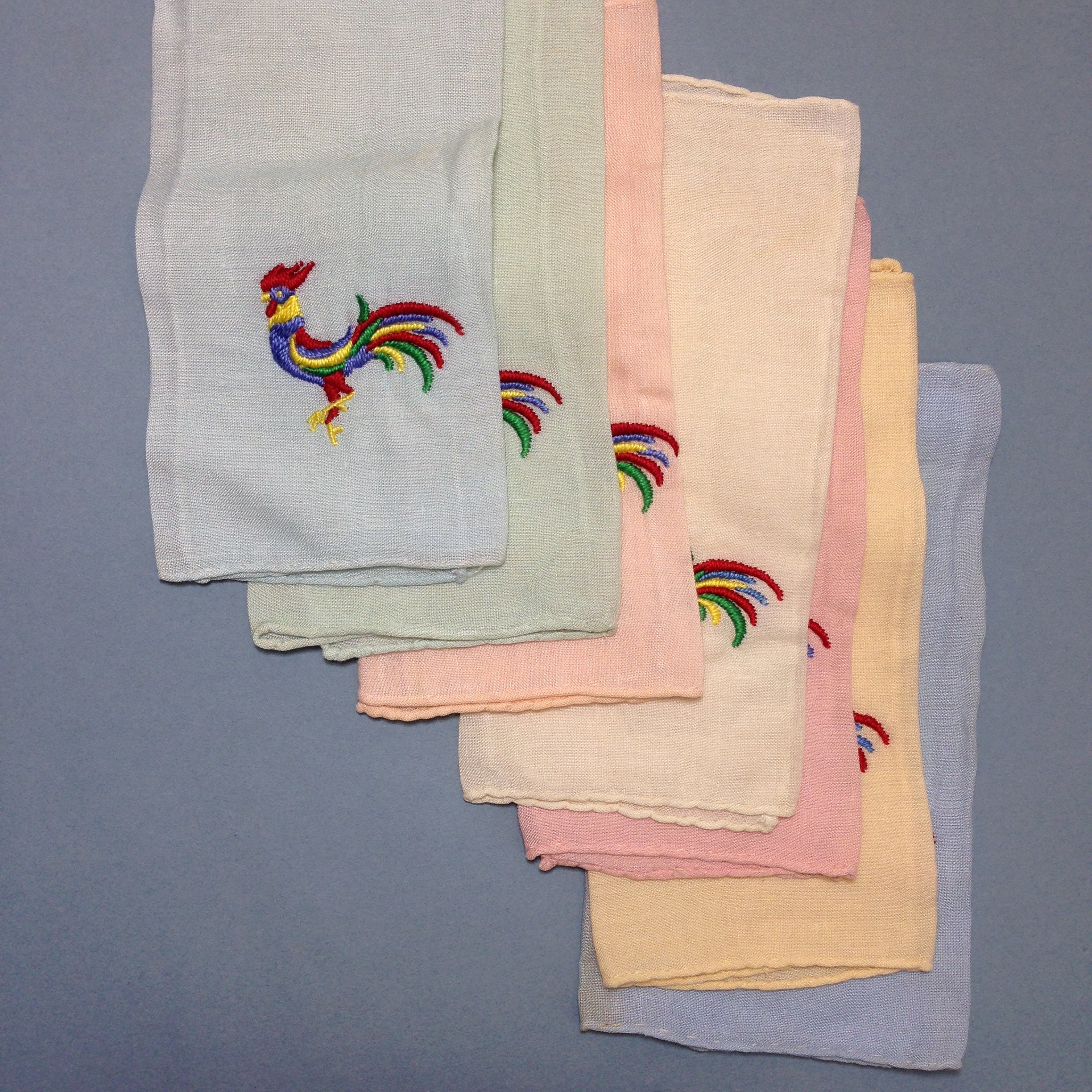 Set of 7 rooster handkerchiefs