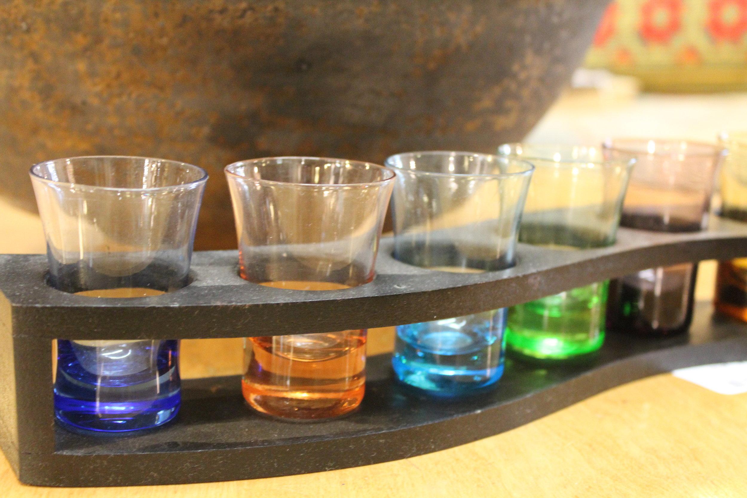 Vintage Wood & Colored Glass Cocktail Set