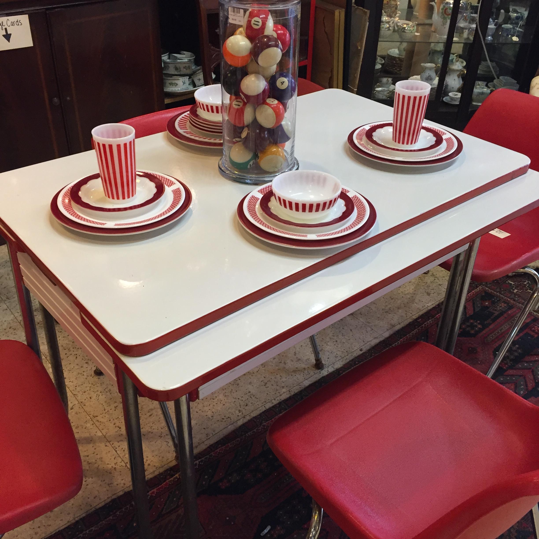 Red & White Enamel Table