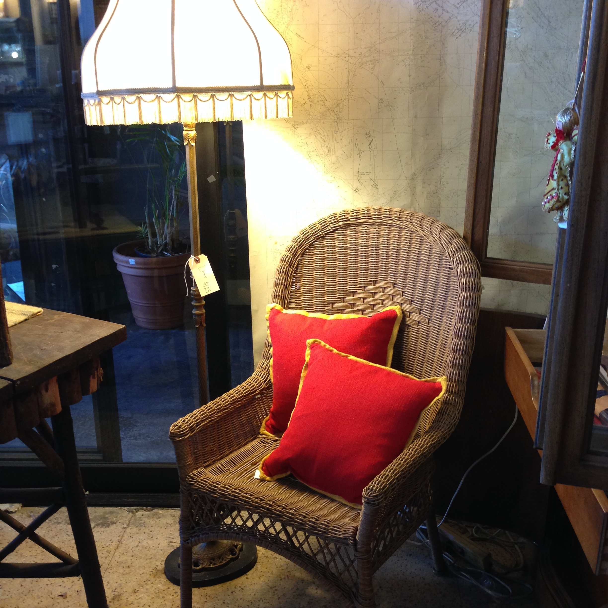 Vintage Lamp and Wicker Chair