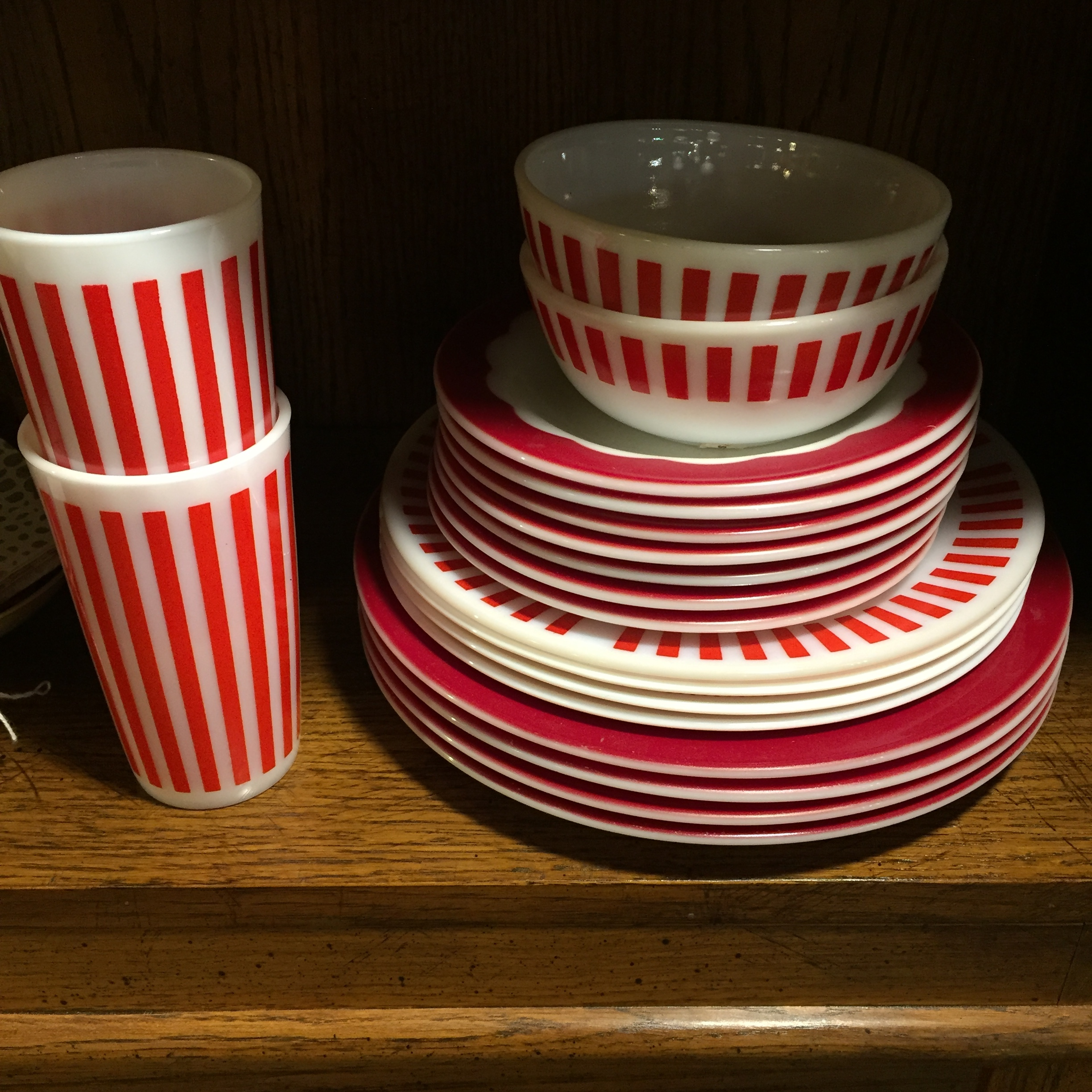Red & White Vintage Dishes
