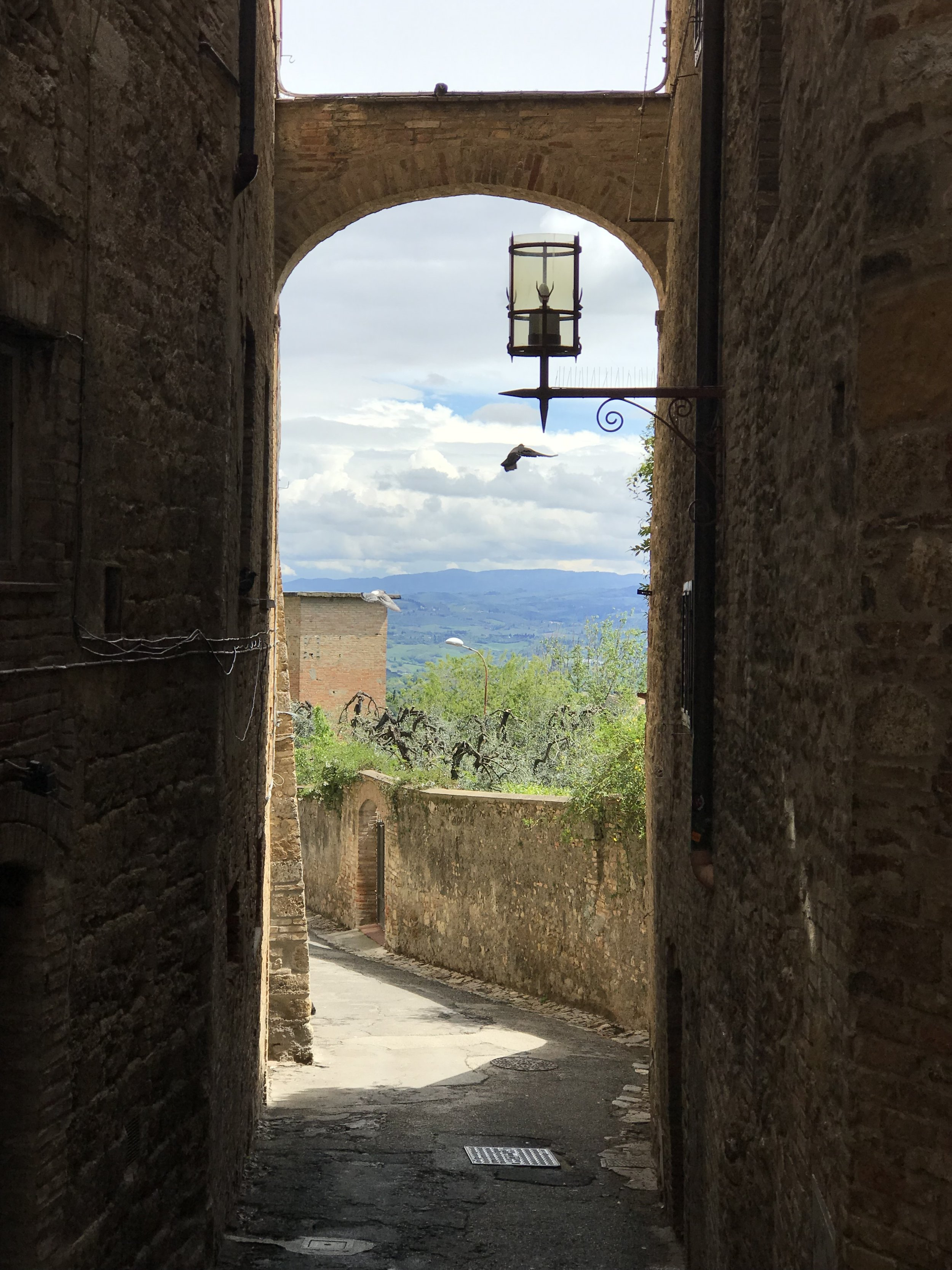 Kathleen Barry and I found a sweet little restaurant down this narrow street in San Gimignano.